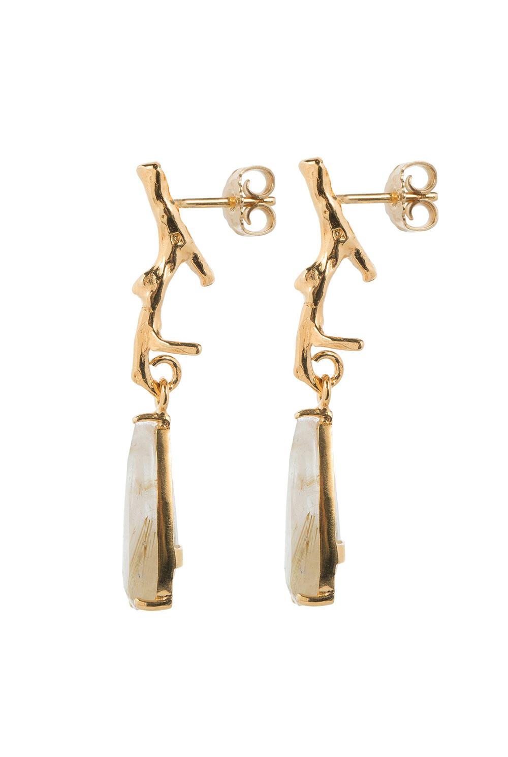 Golden rutilated quartz  branch earrings goldplated
