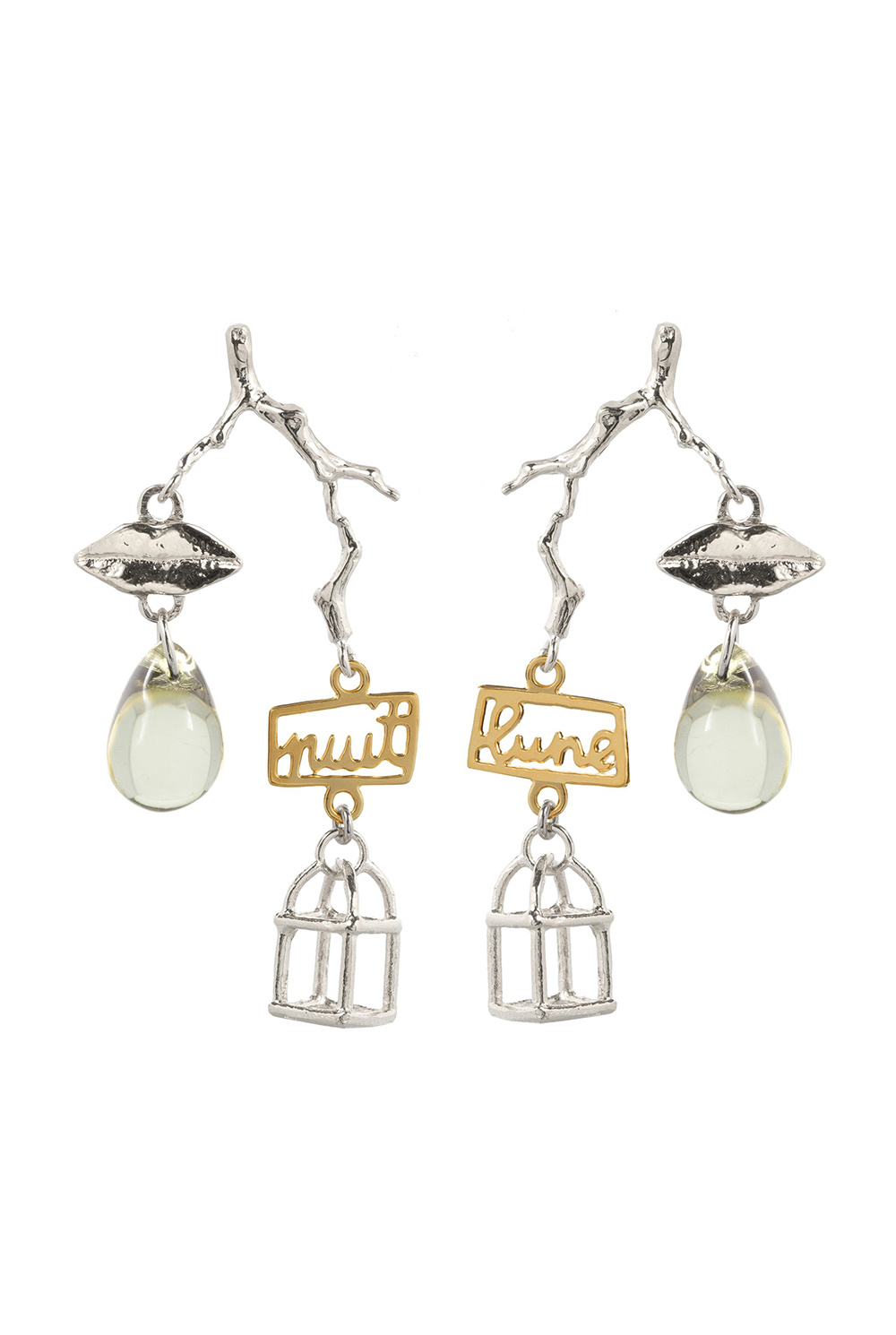 Charm cage earrings jonquil crystal silver