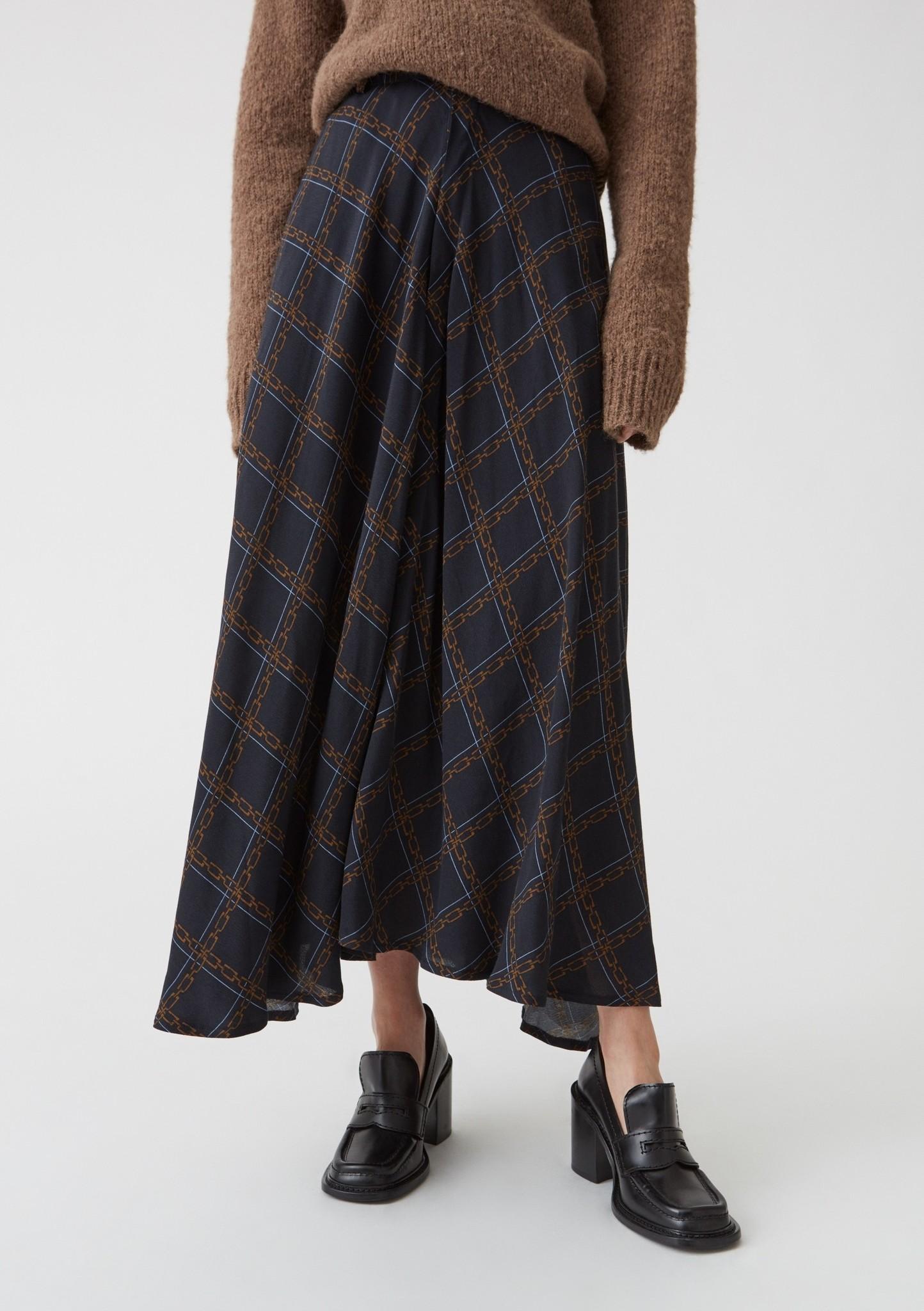 Vision Skirt Dk Blue chain print