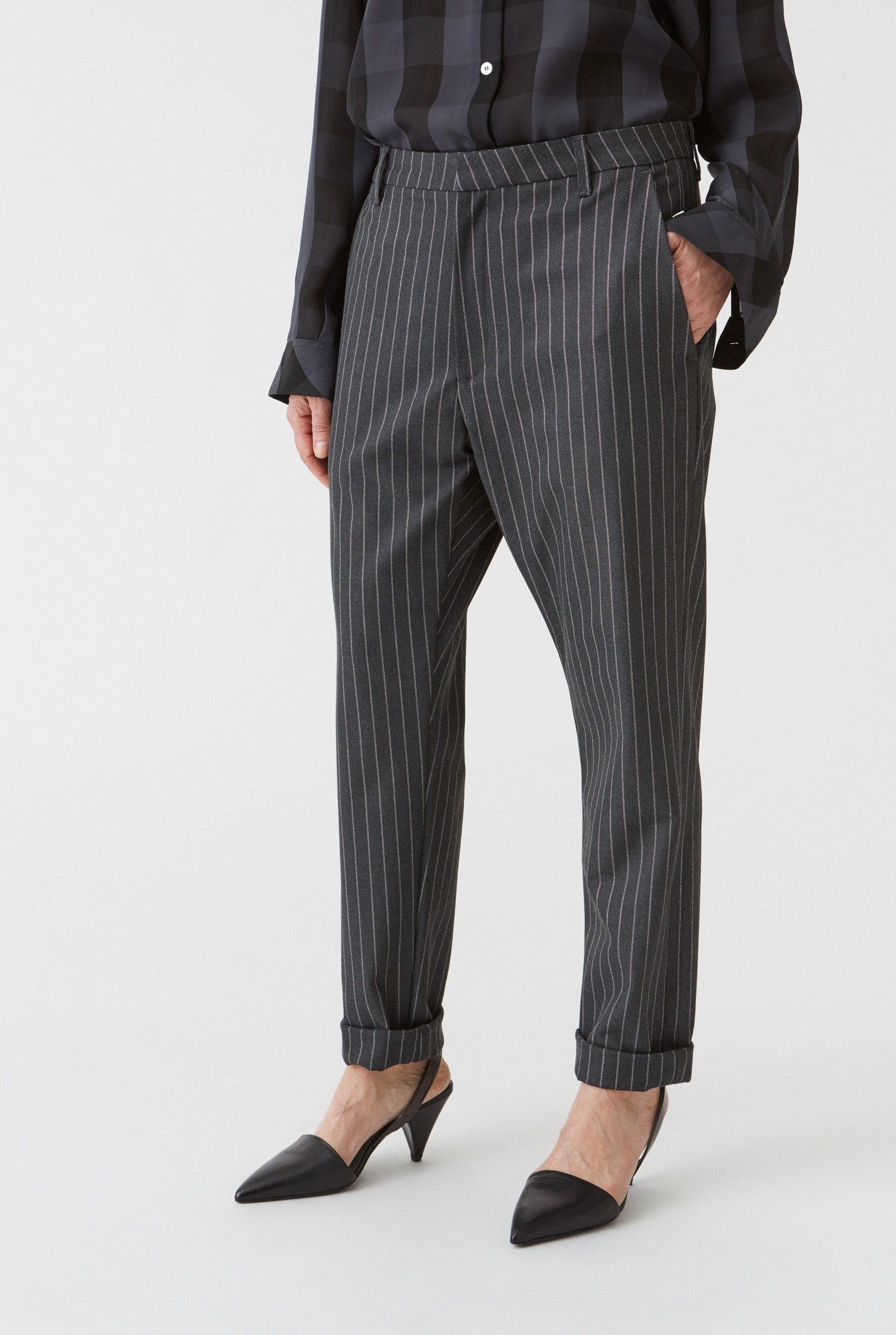 News trouser Grey Pinstripe