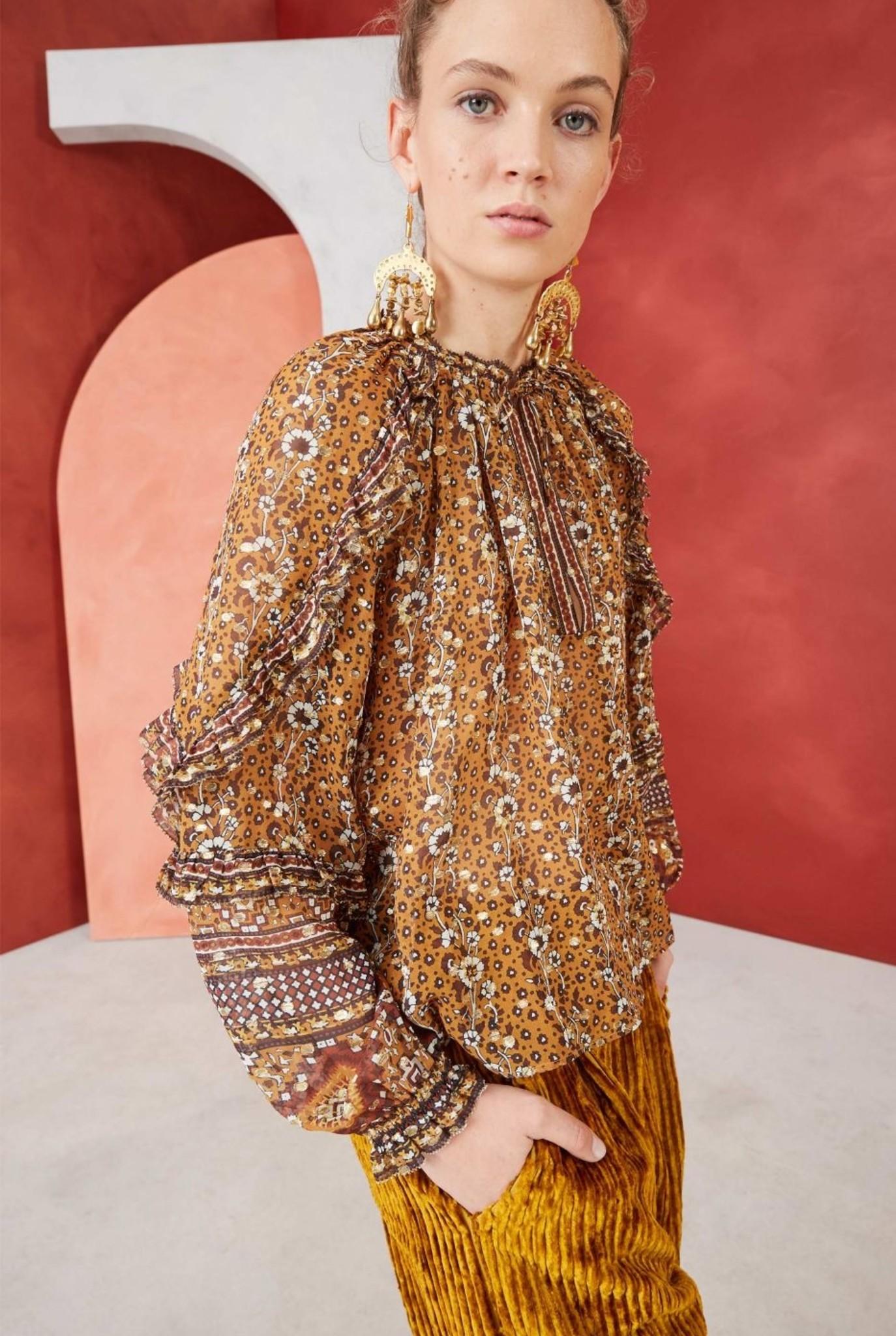 Calista blouse Ochre gold print