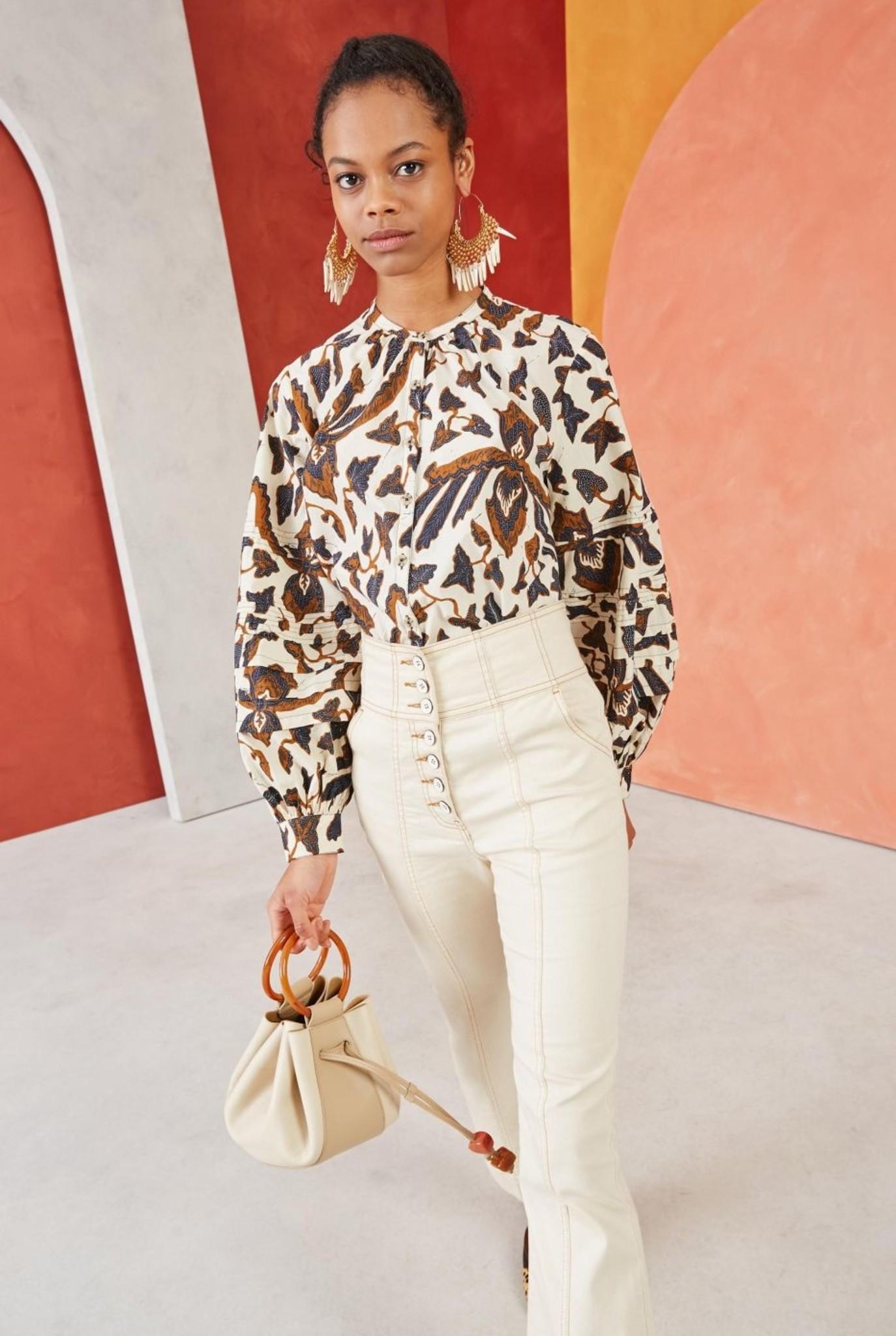 Melati blouse Bone print