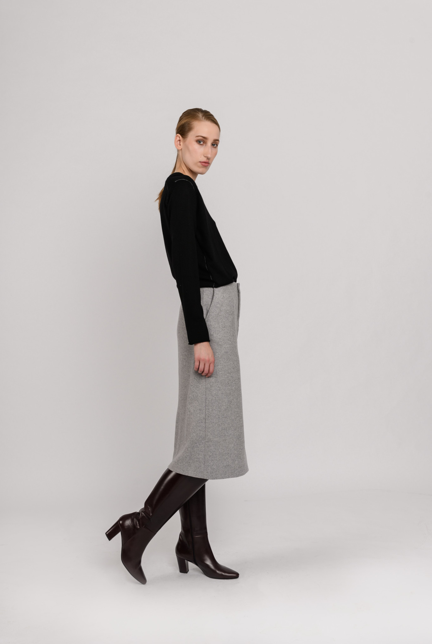 Bren skirt herringbone grey melee
