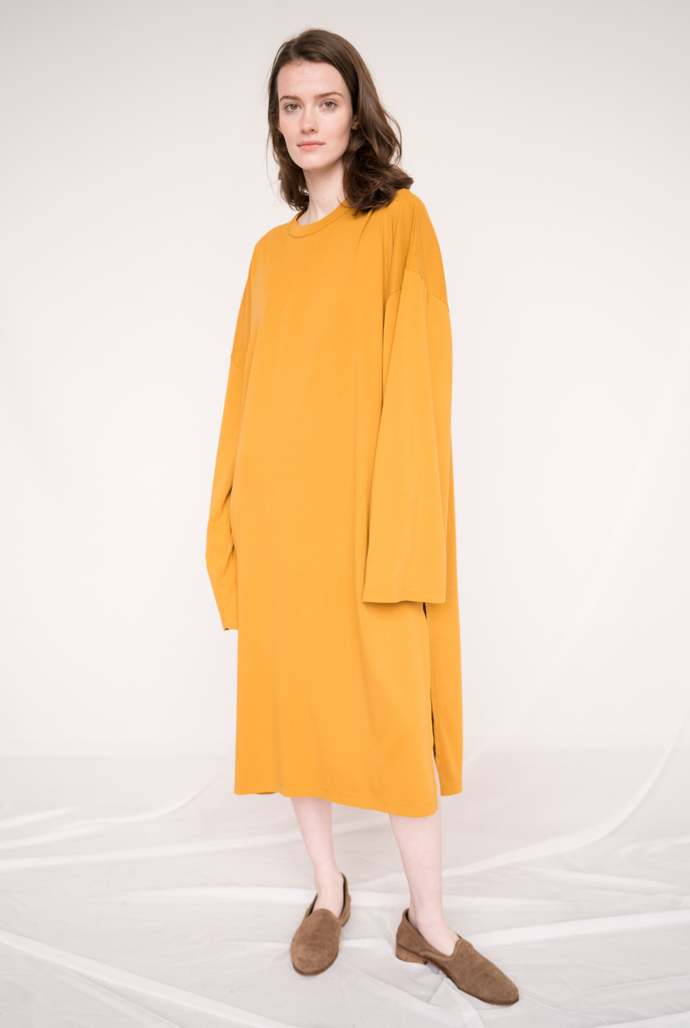 Loose dress L/S Pia Honey Mustard