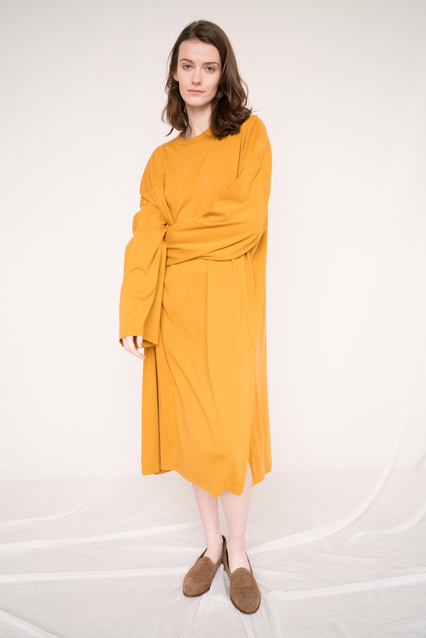 Loose dress L/S Pia Honey Mustard