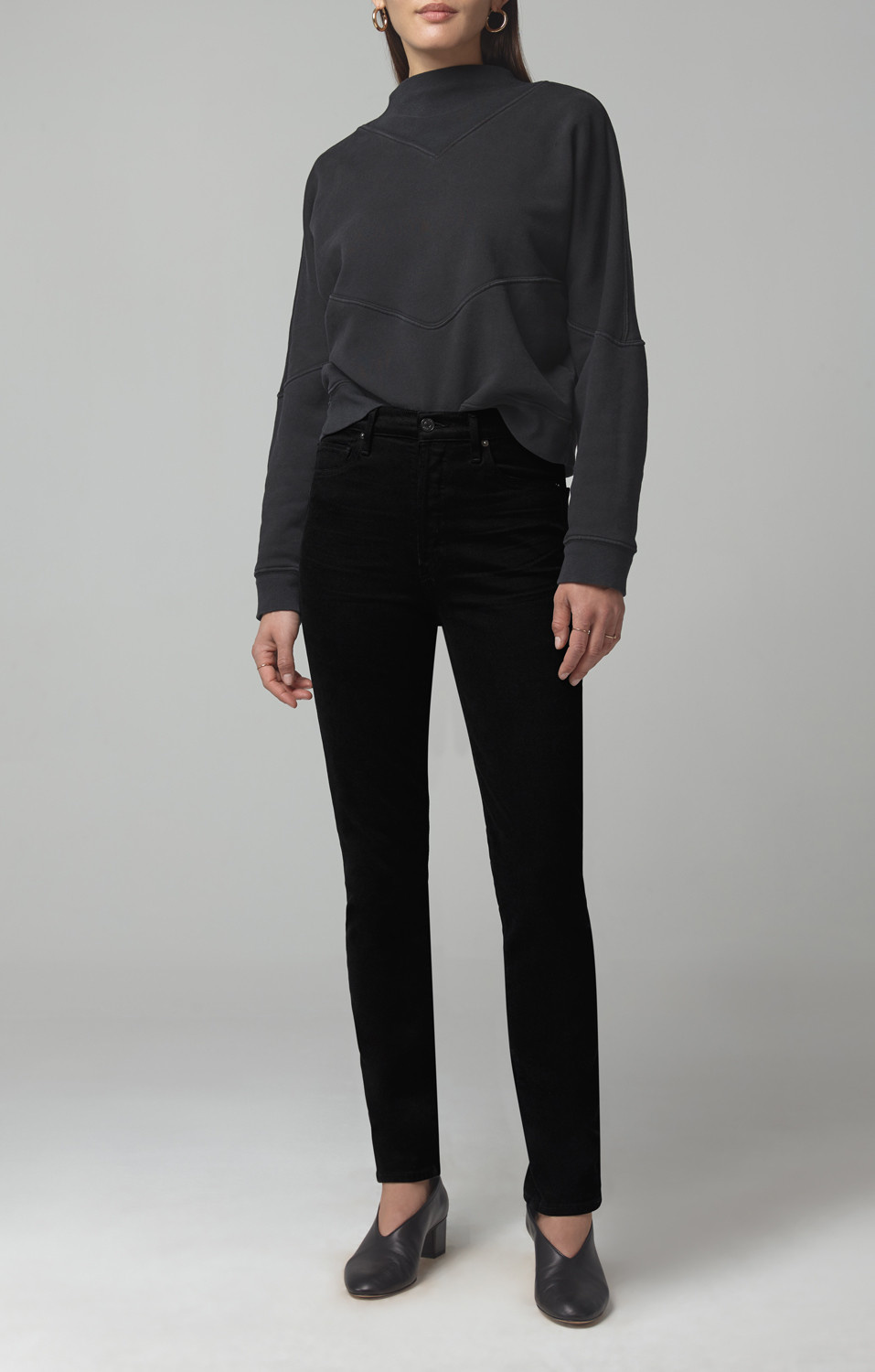 Olivia long jeans sueded black