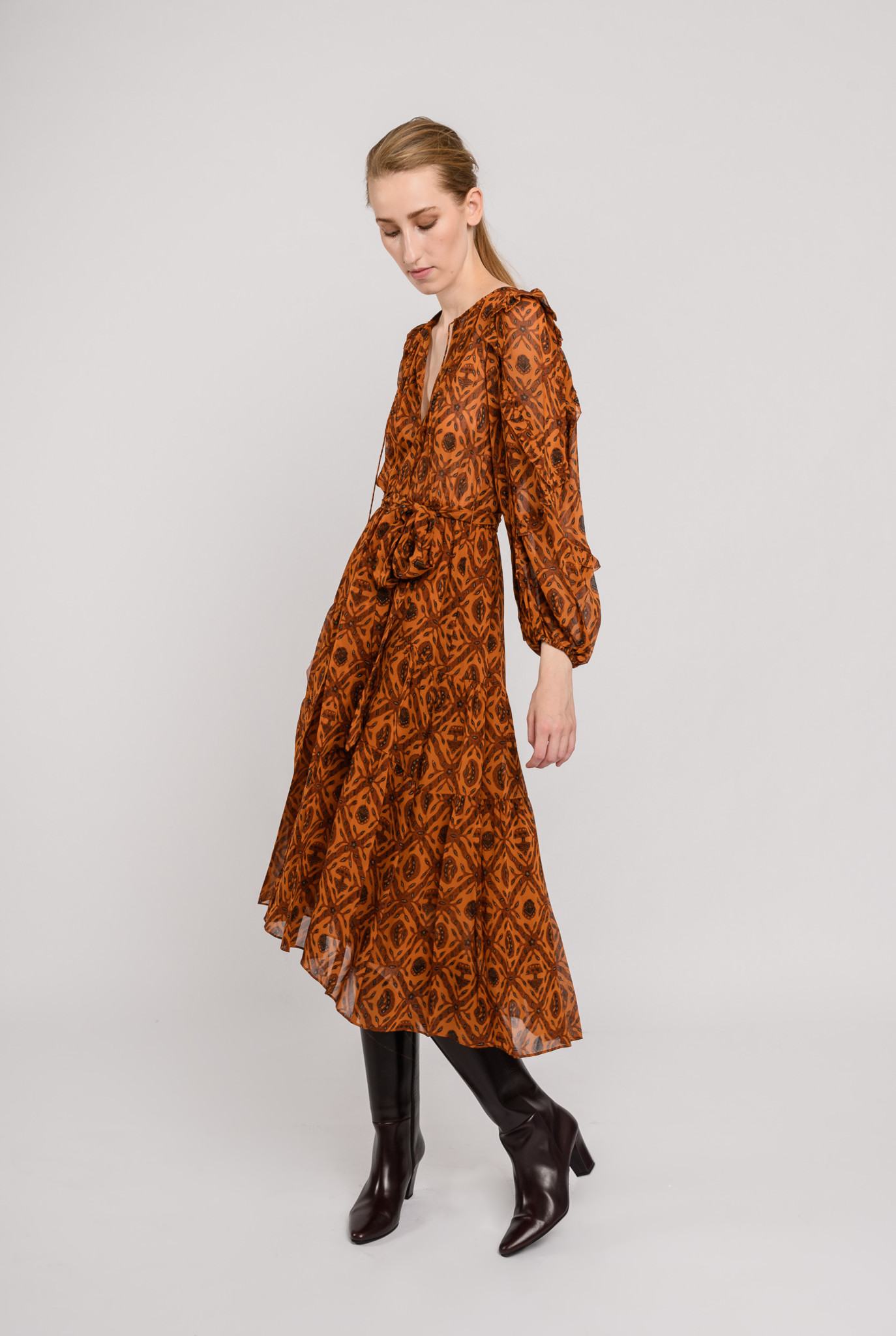 Aliya dress Ochre print