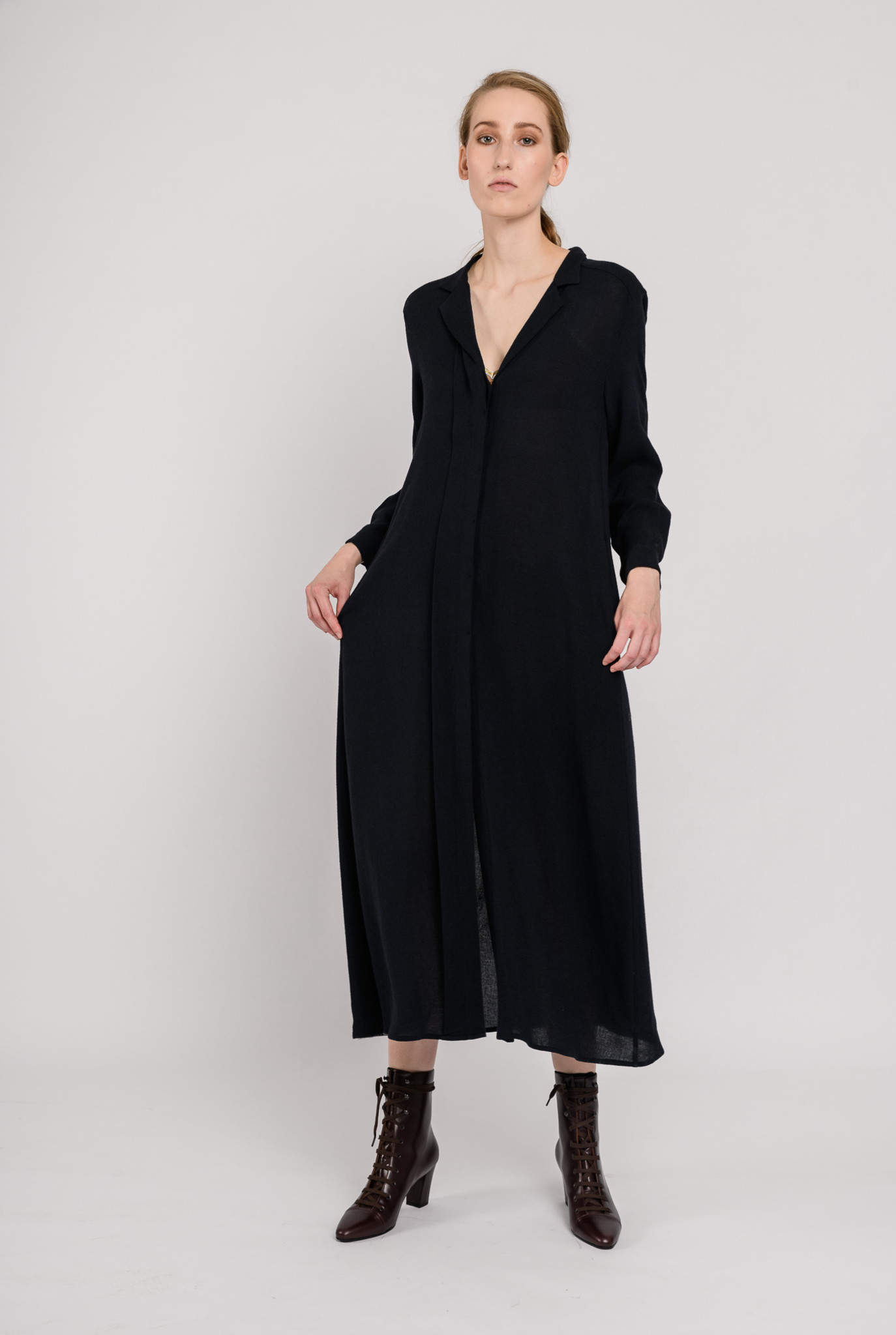 Long wool dress navy