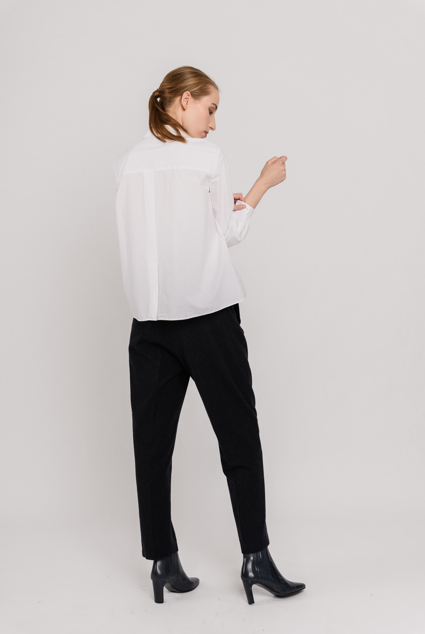 Blind buttoned blouse white cotton
