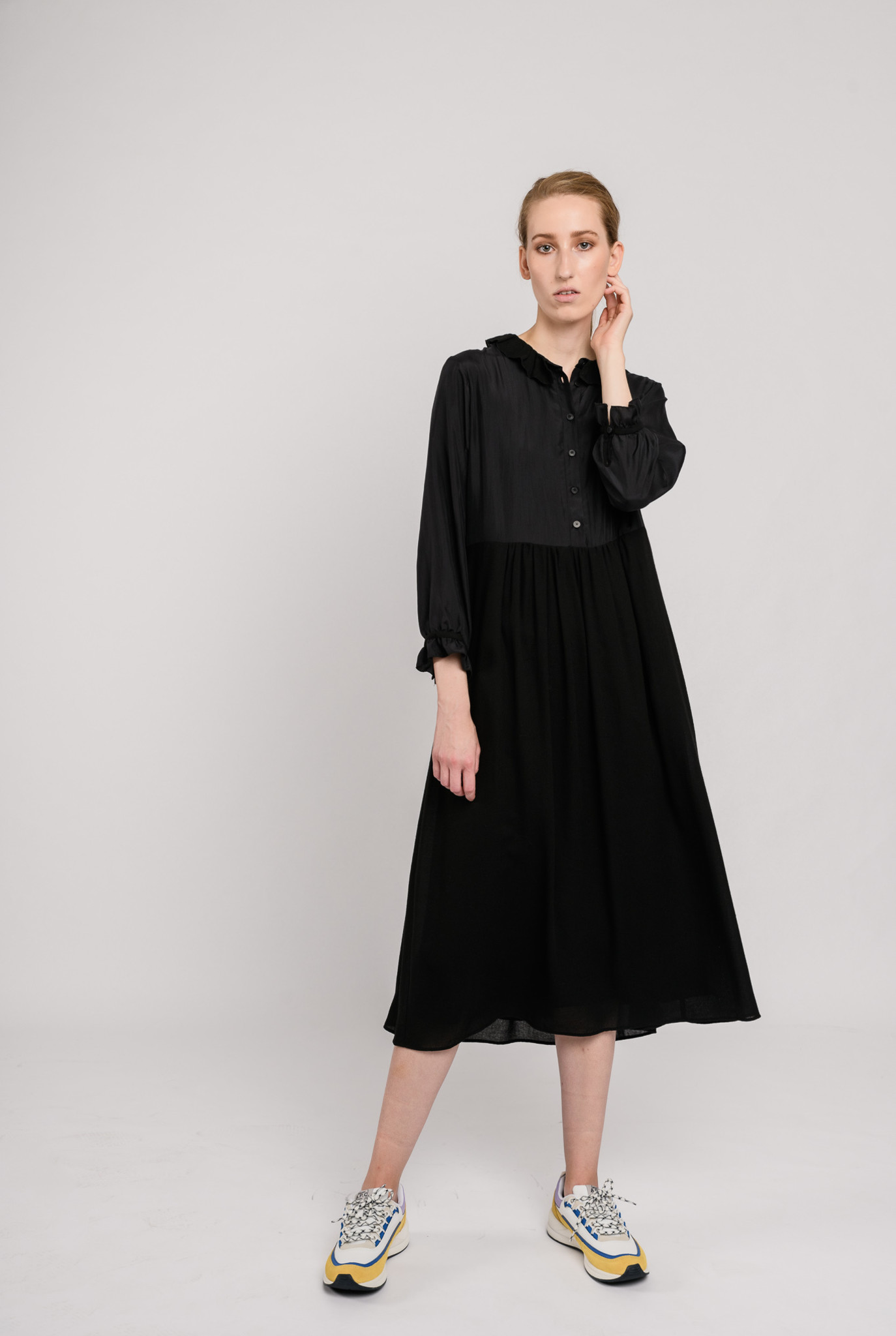 Silk wool long dress black