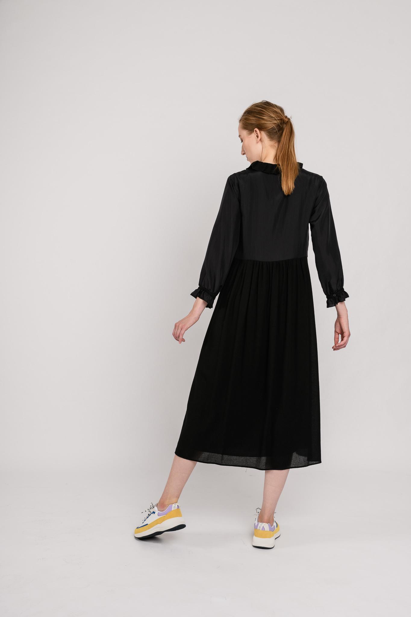 Silk wool long dress black