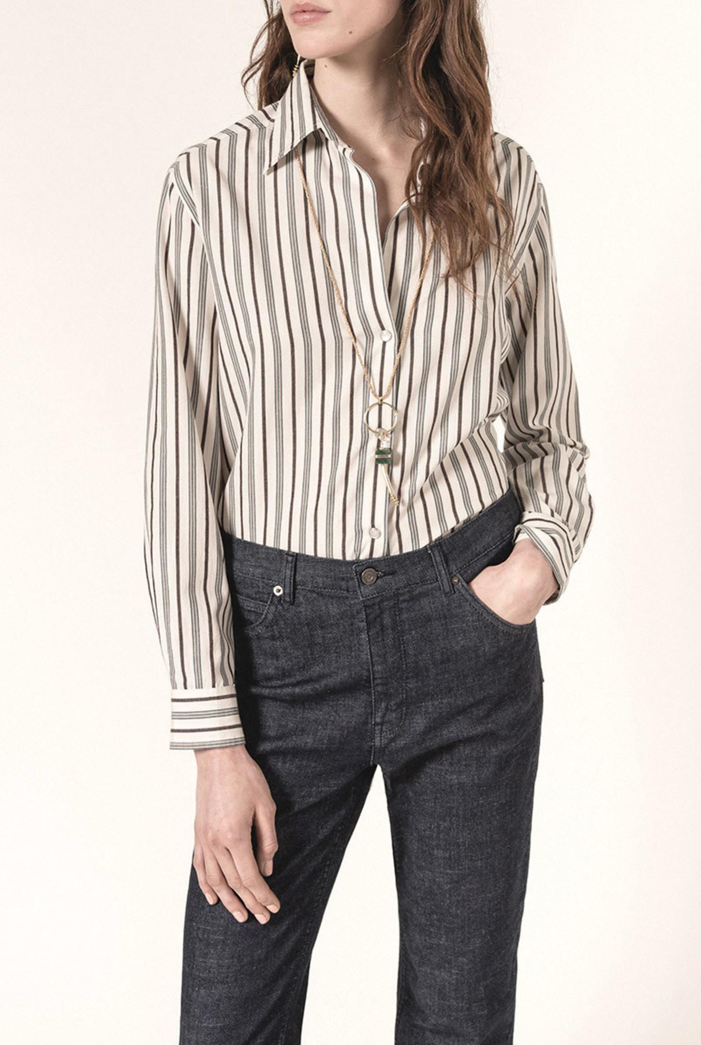 Druyat blouse Grey Brown stripe