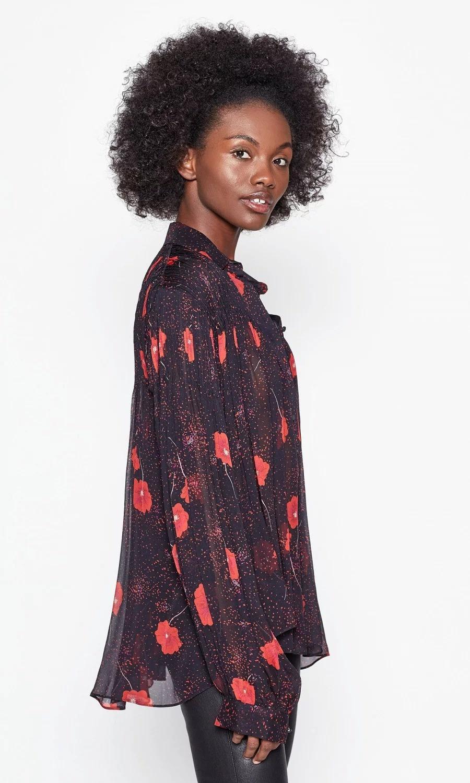 Jaslyn blouse Black Red flowers