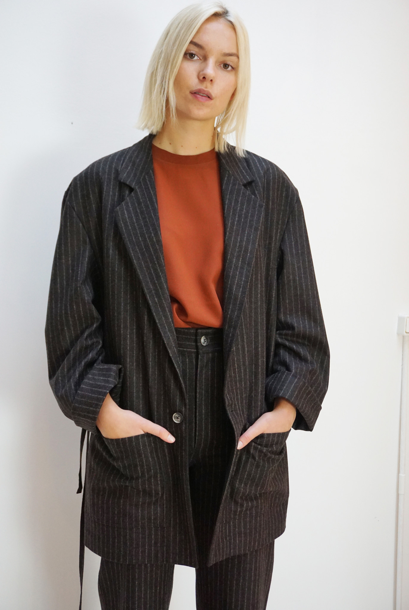Donny brown pinstripe wool