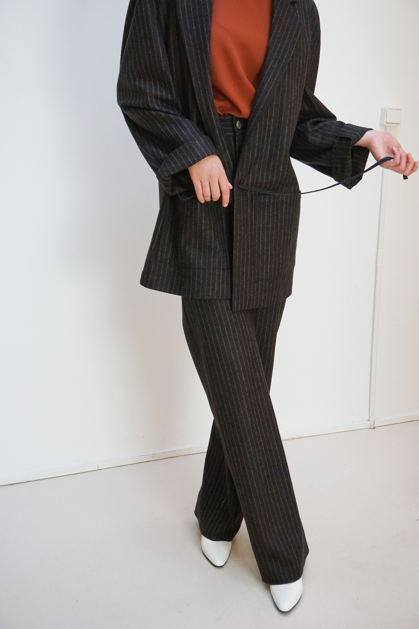 Donny brown pinstripe wool