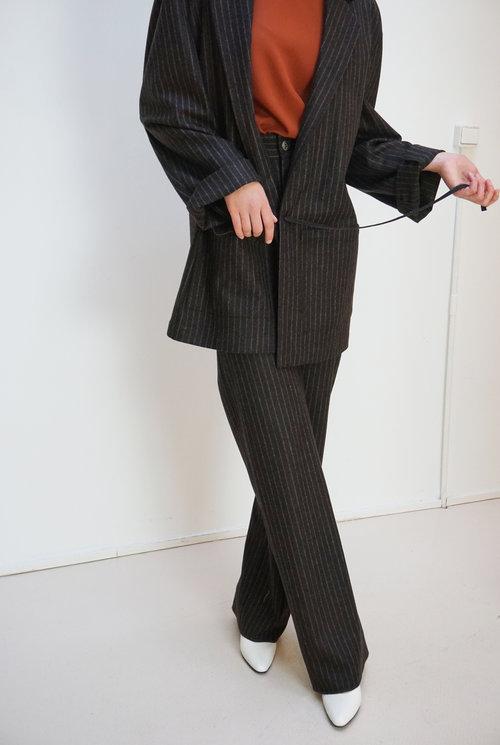 Sailor trouser Brown Pinstripe wool