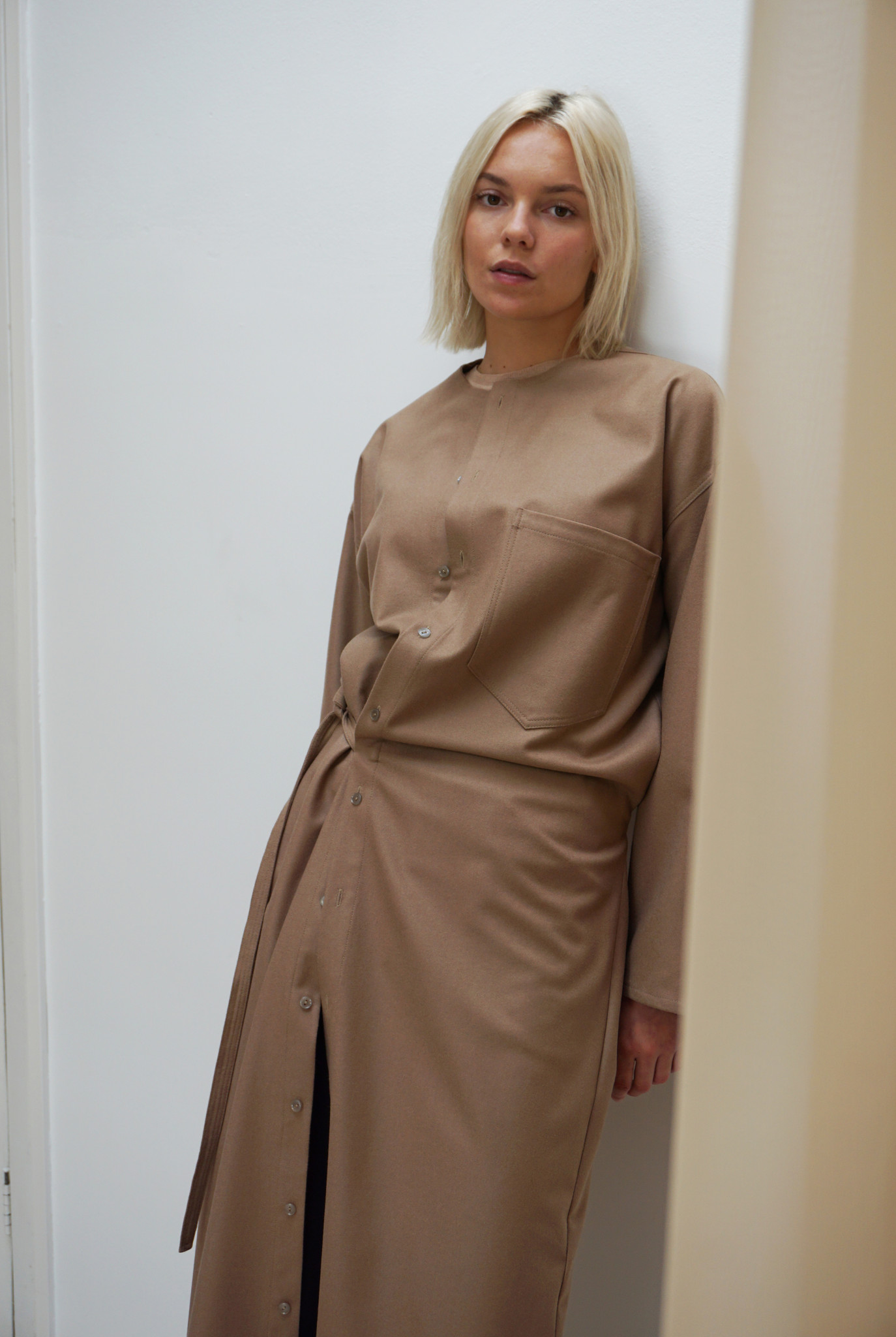 Wrapper dress Sand wool