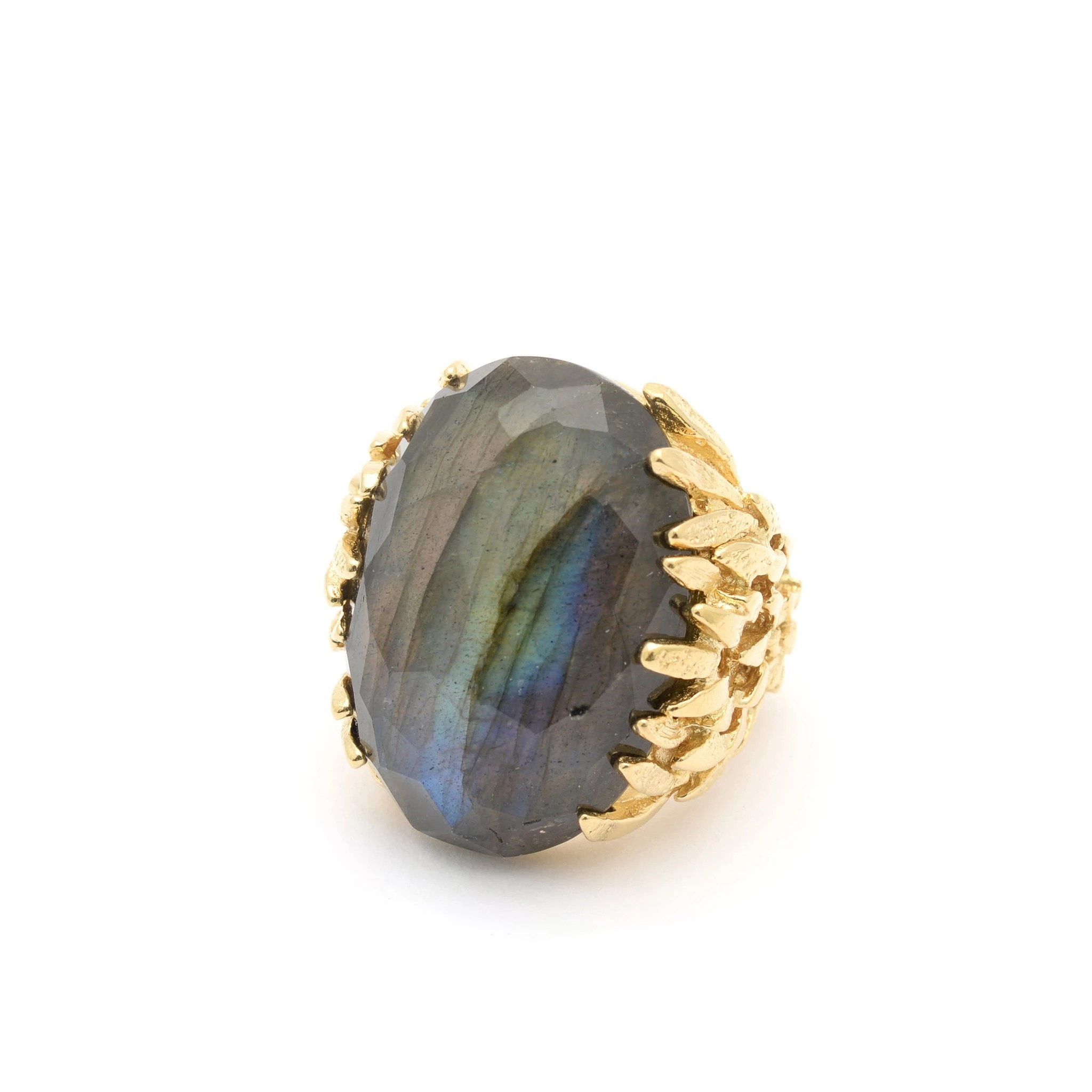 Statement ring with labradorite Goldplated