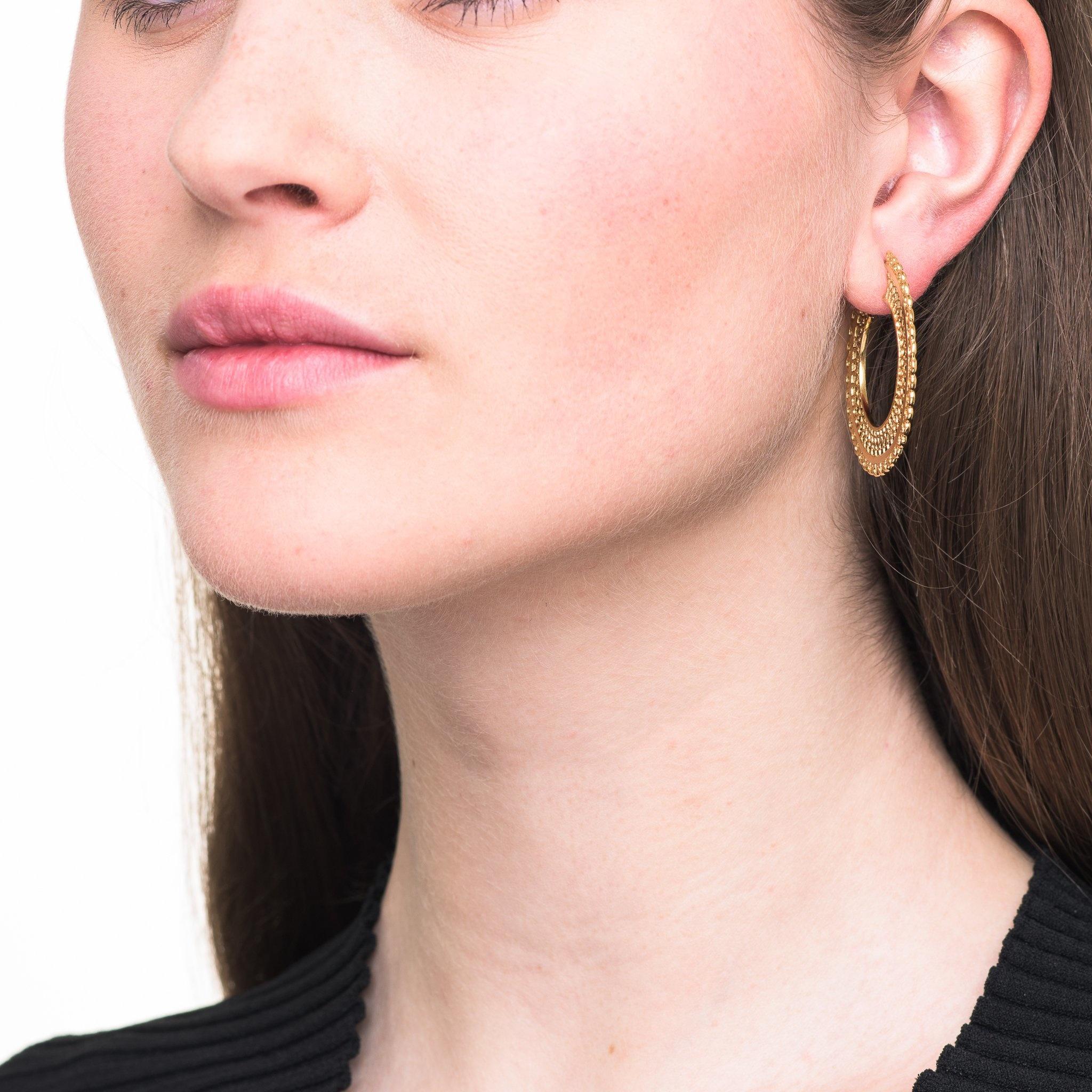 Filigree hoop earrings Goldplated