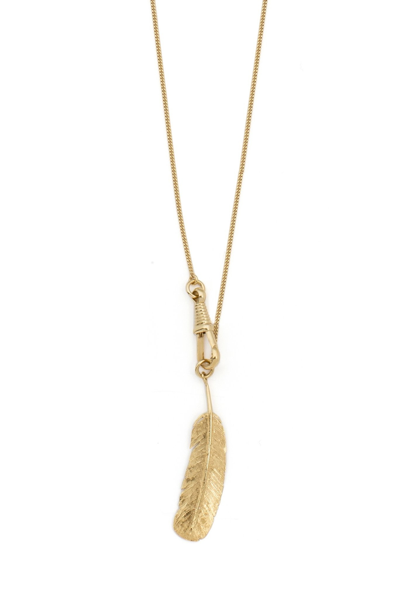 Long necklace with large feather pendant Goldplated