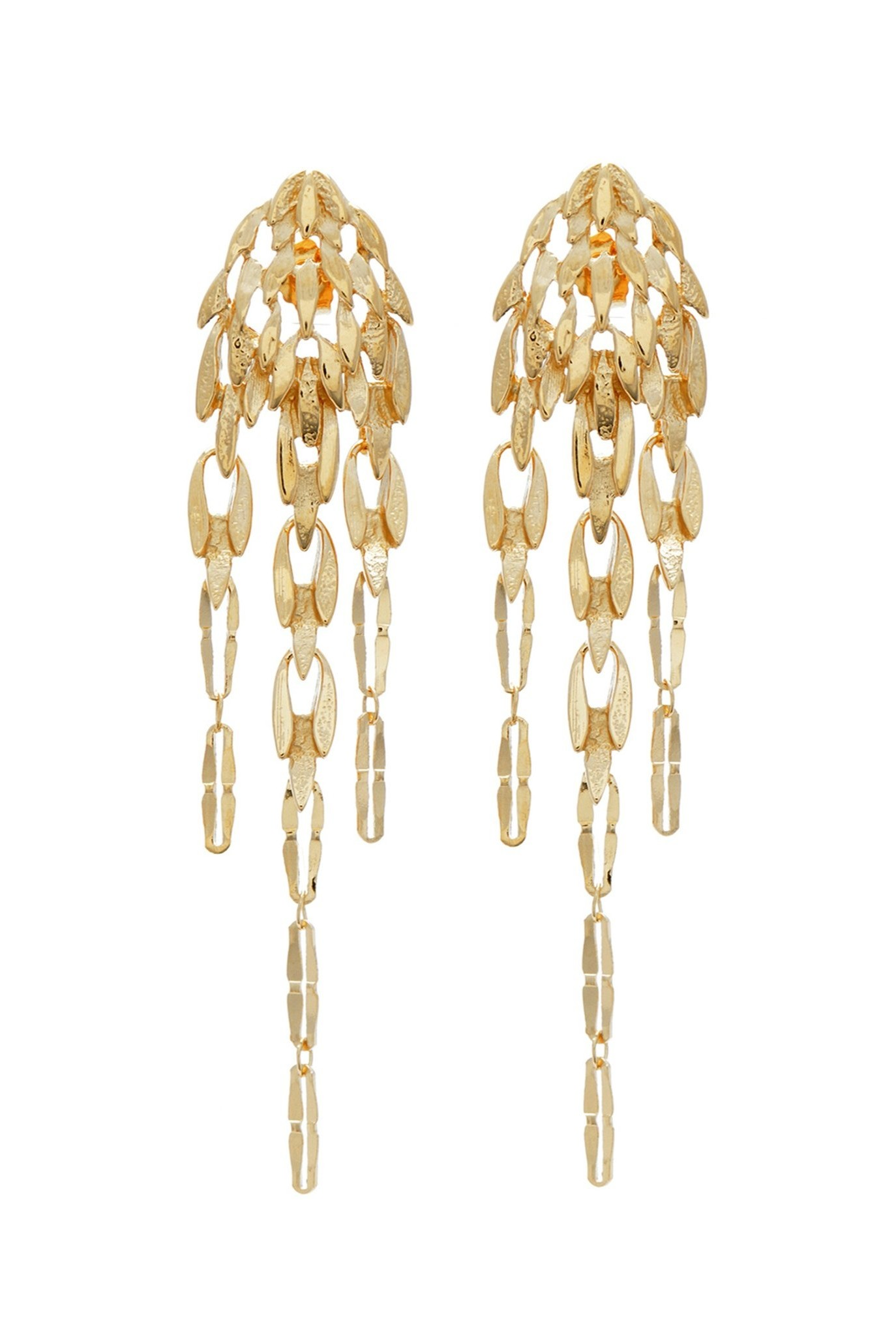 Earrings reminiscent of feather Goldplated