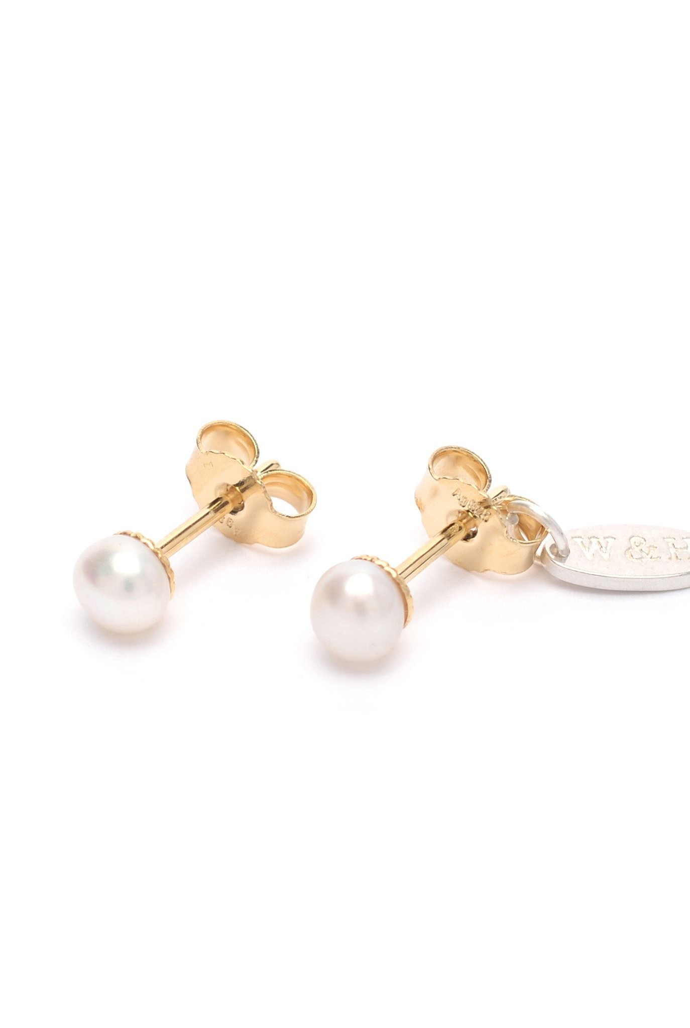 Stud earrings with freshwater pearl Goldplated