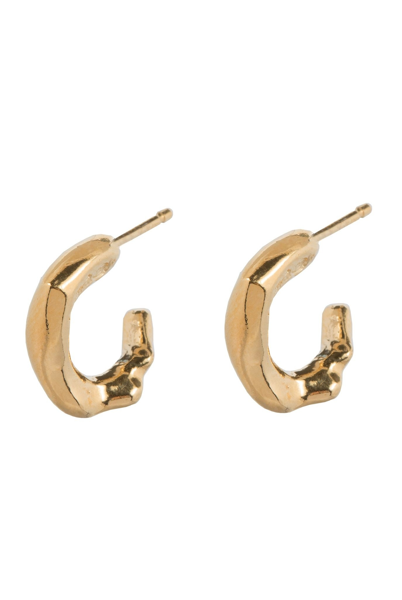 Delicate organic shaped hoop earrings Goldplated
