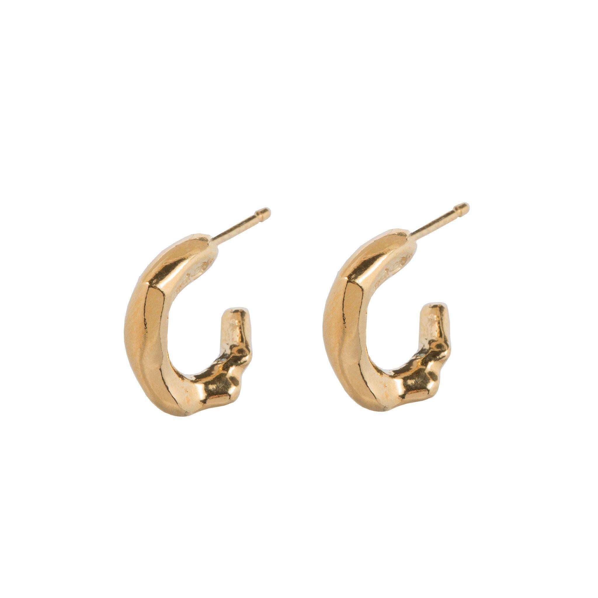 Delicate organic shaped hoop earrings Goldplated