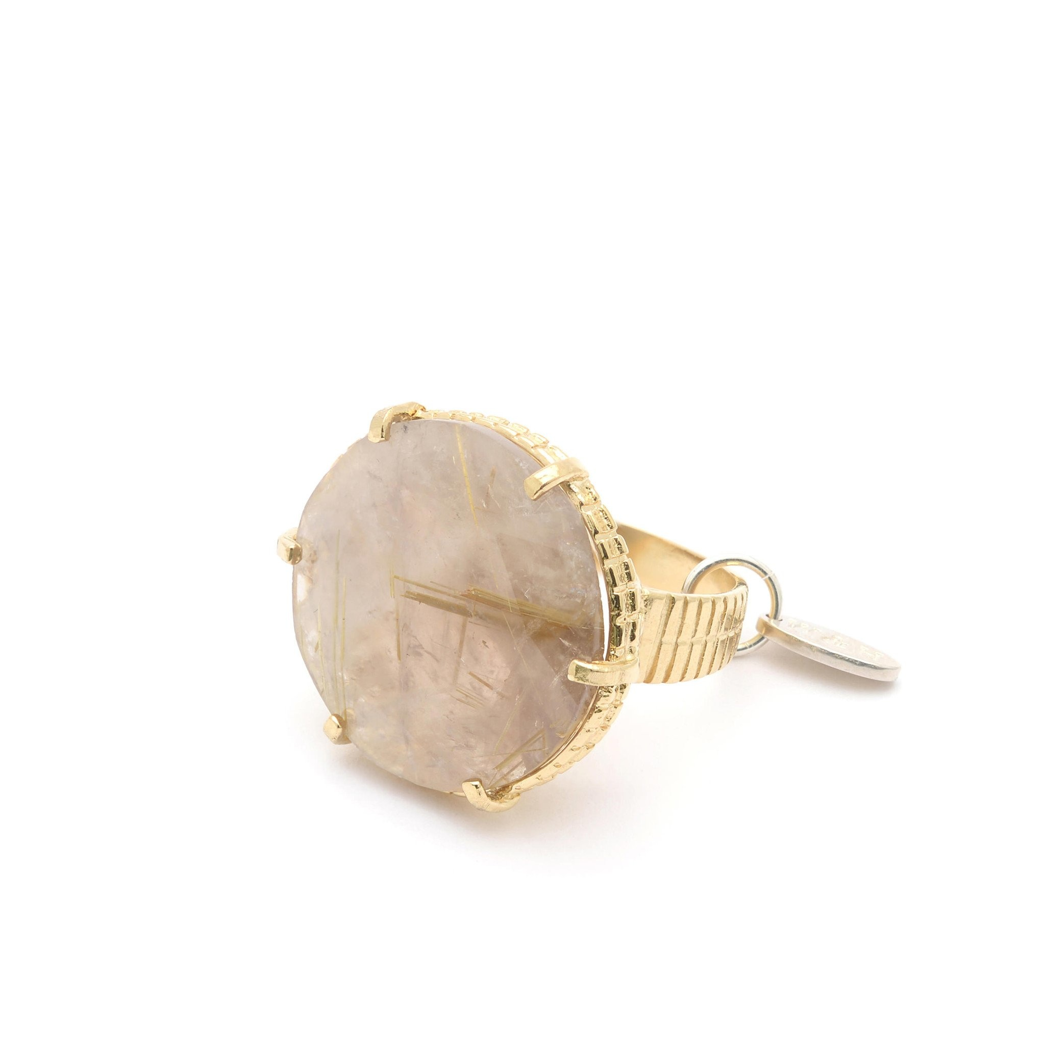 Statement ring with rutilated quartz Goldplated