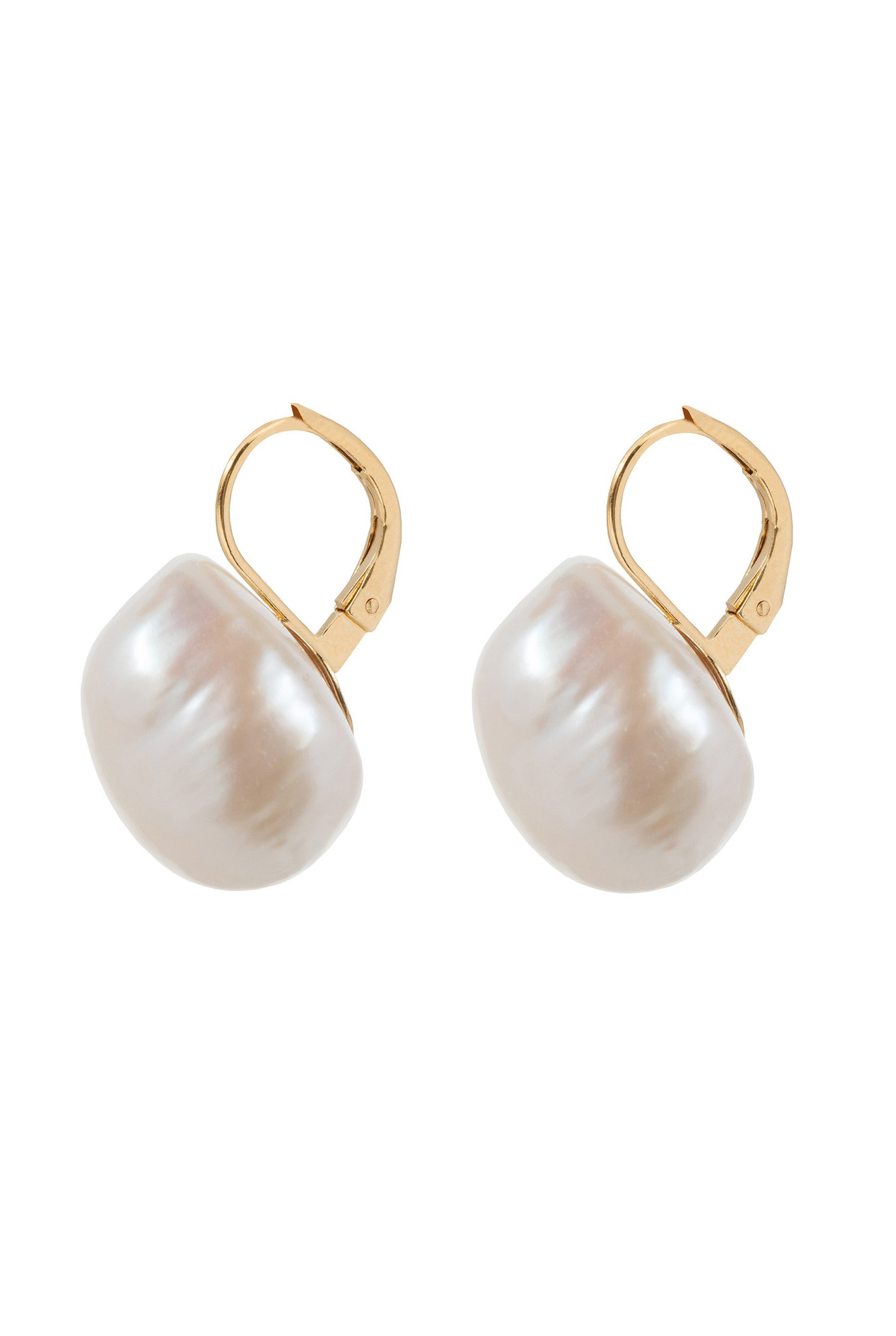 Big freshwater pearl earrings Goldplated
