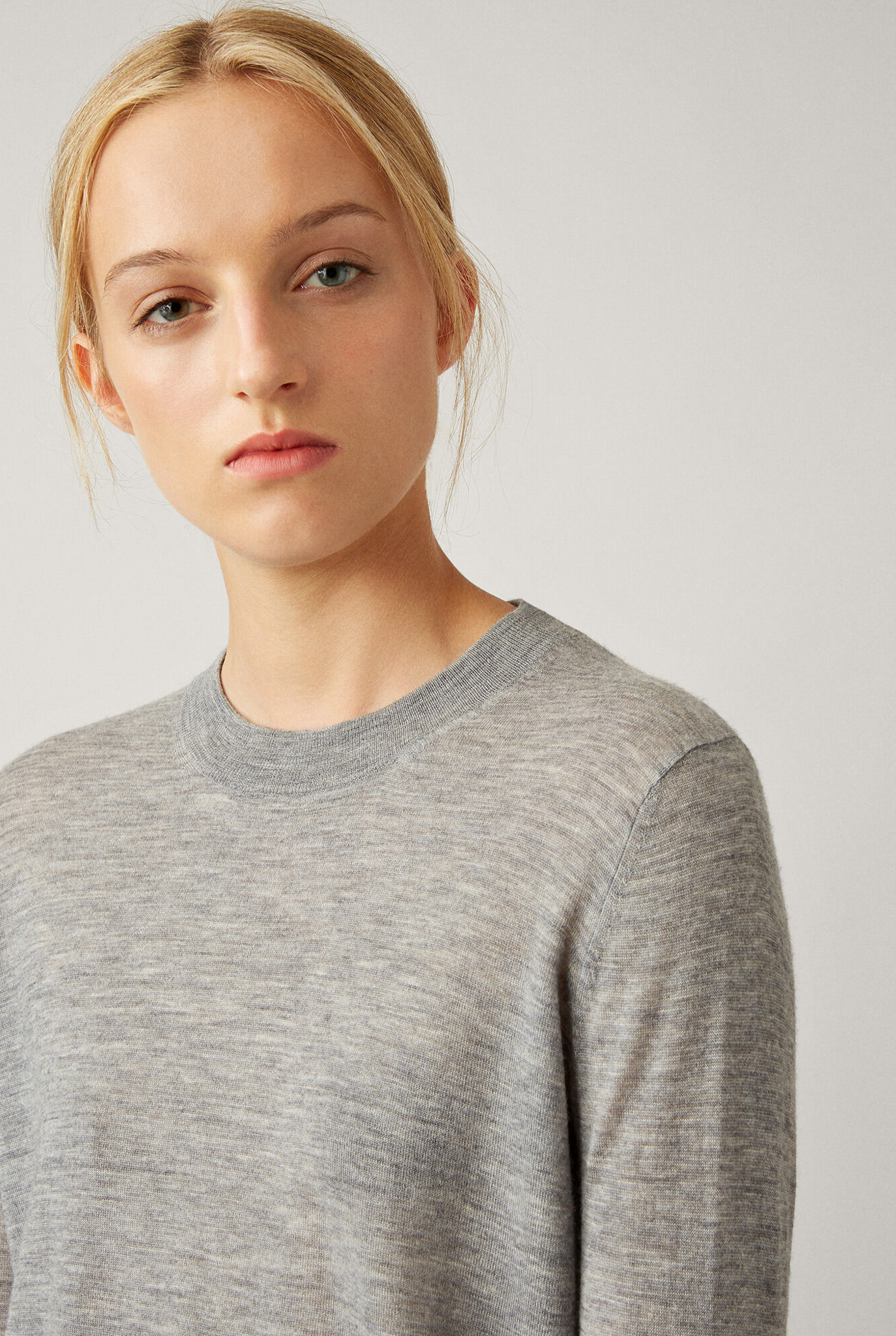 Round neck longsleeve cashair pull light grey chine