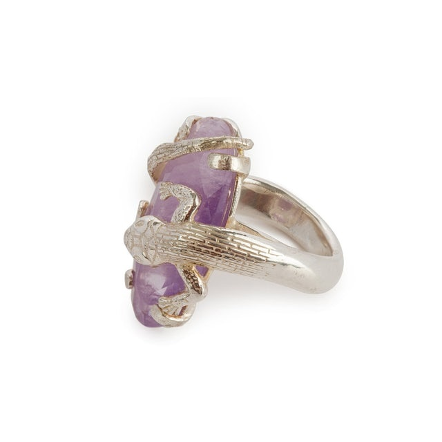 Ring with salamander clasping milky amethyst
