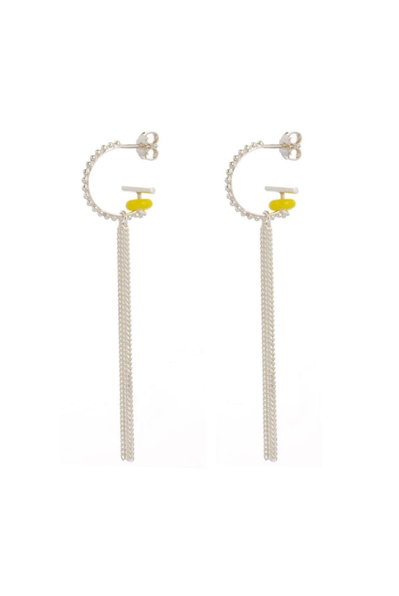Hoop earrings with yellow glass bead and fringe