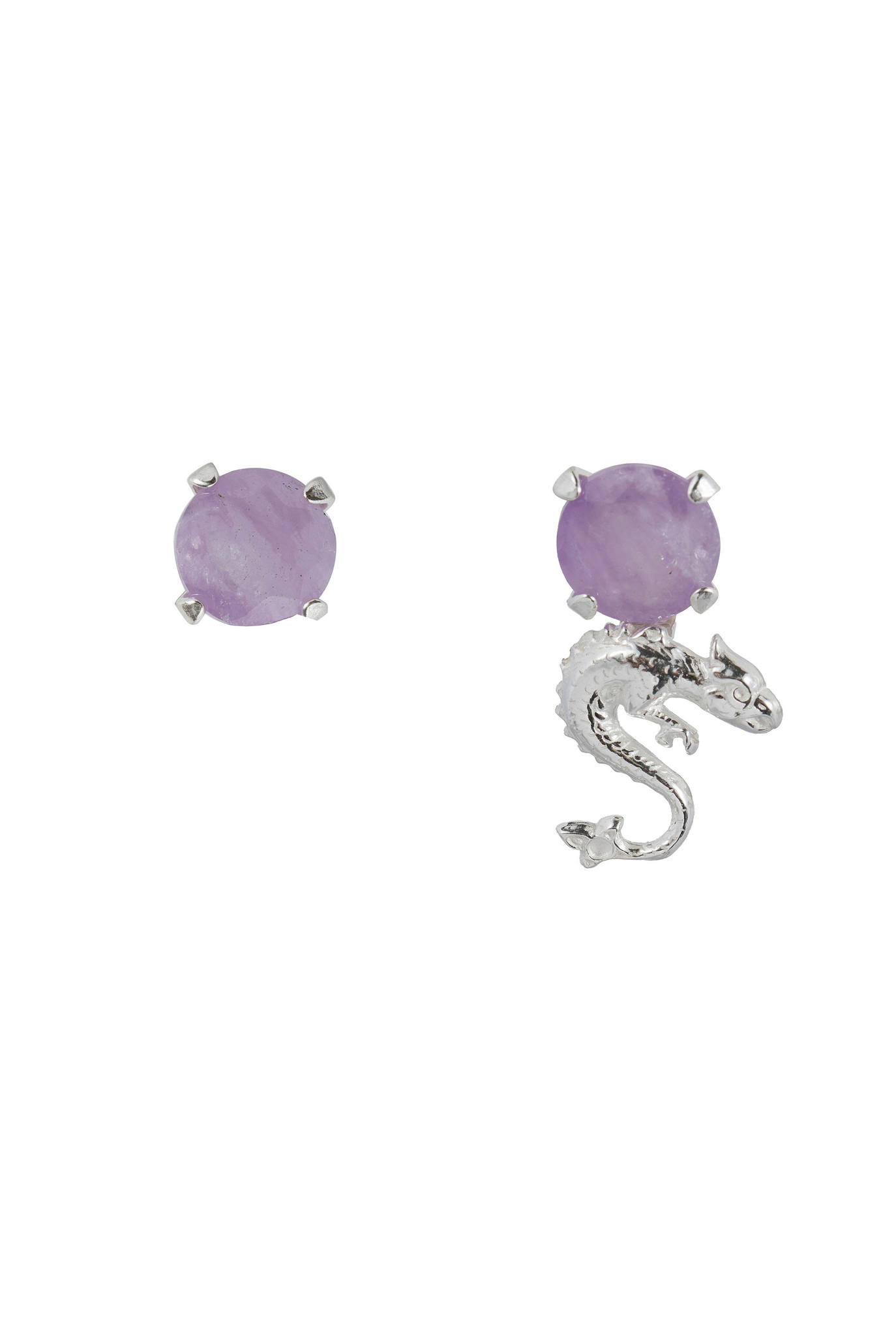 Mixed earrings with milky amethyst and dragon