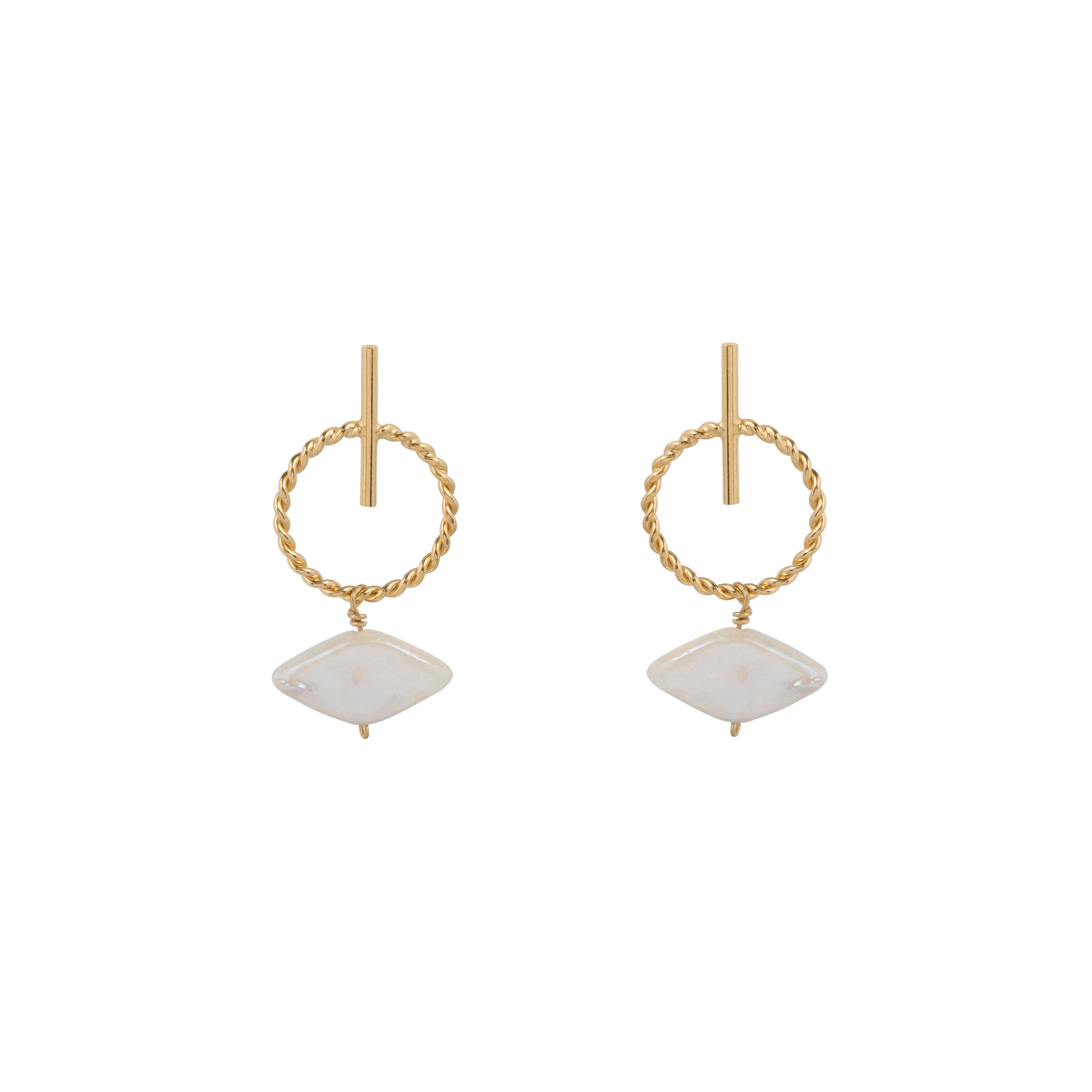 Stud earrings with hoop and white mother of pearl