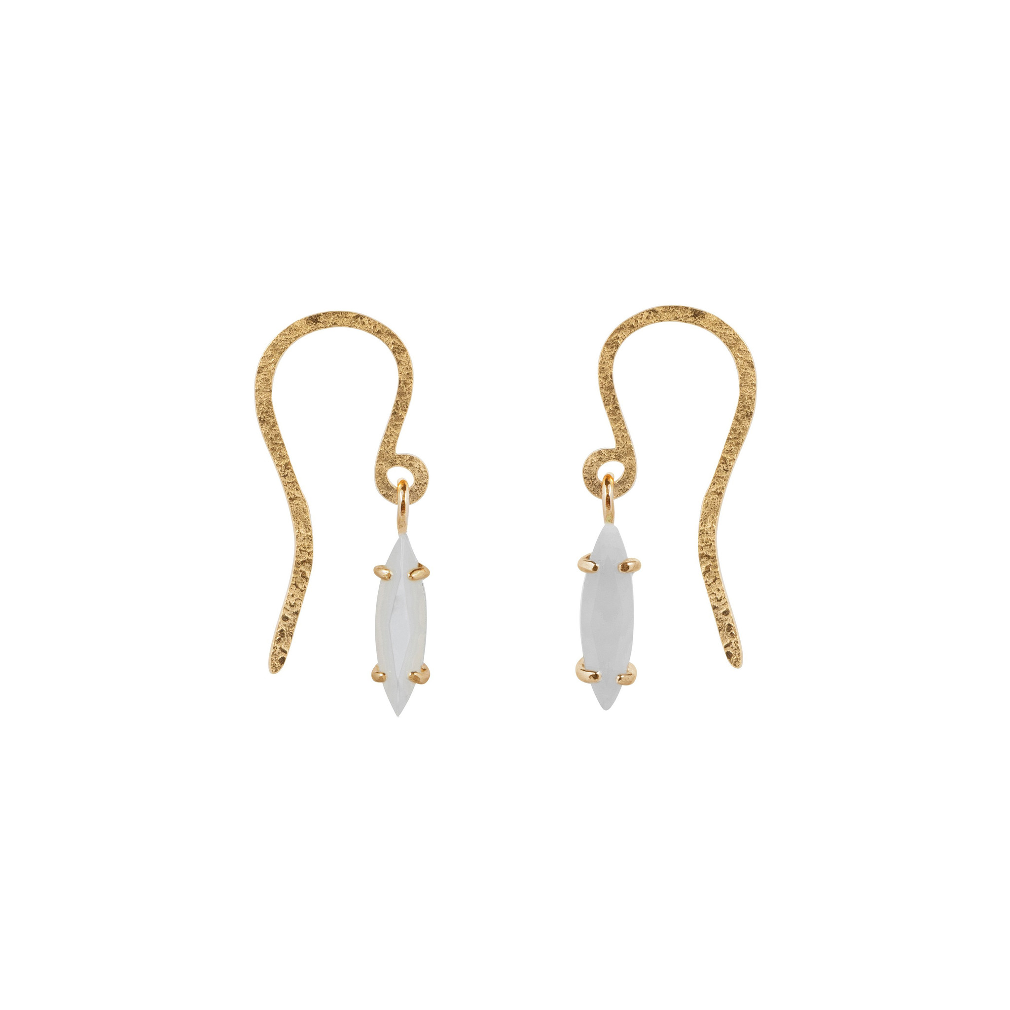 Stud earrings with hook and white mother of pearl