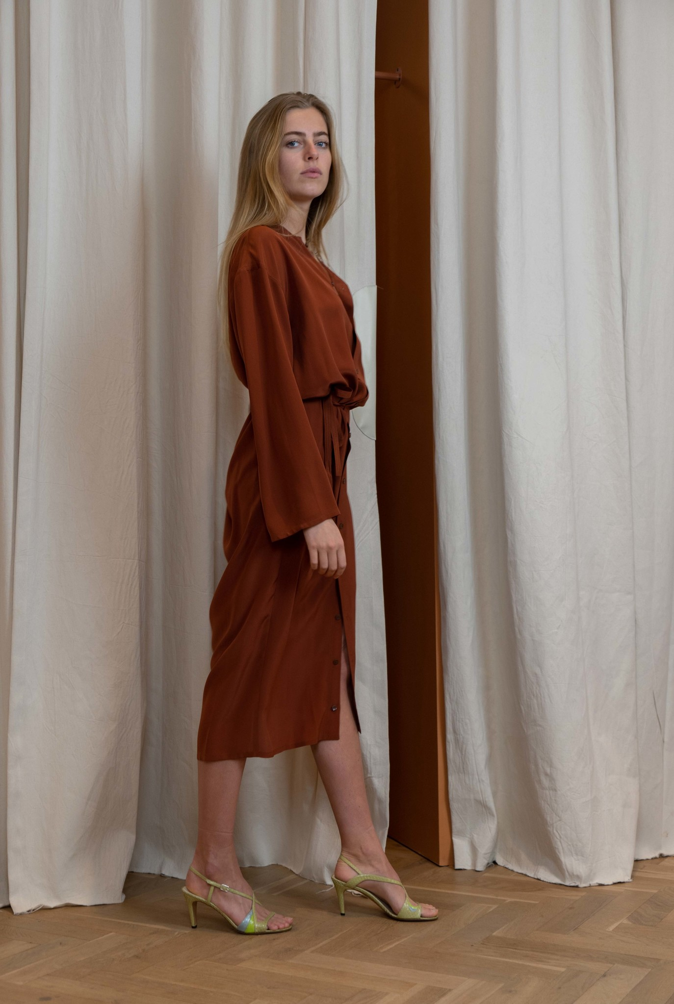 Wrapper dress Chestnut silk