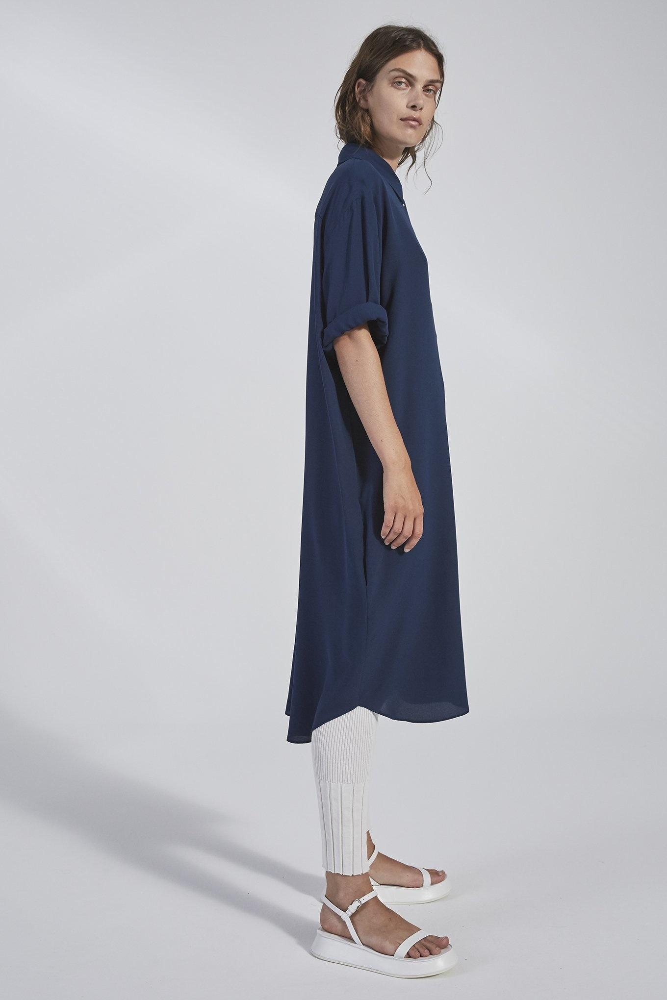 Eliza Shirt Dress Navy