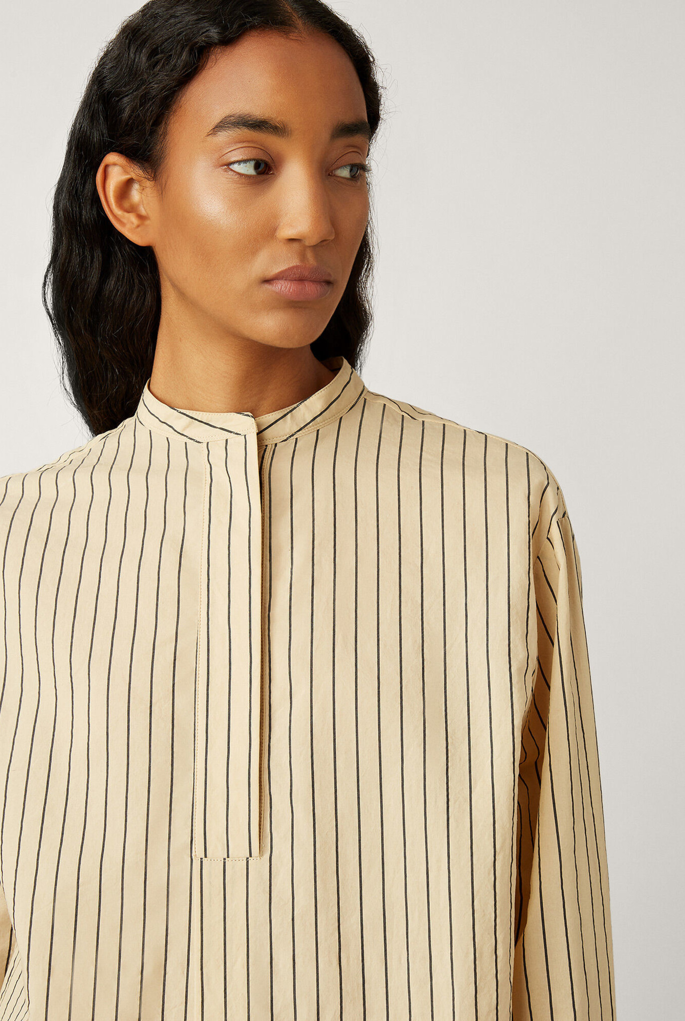 Aufray blouse cotton silk stripe chai
