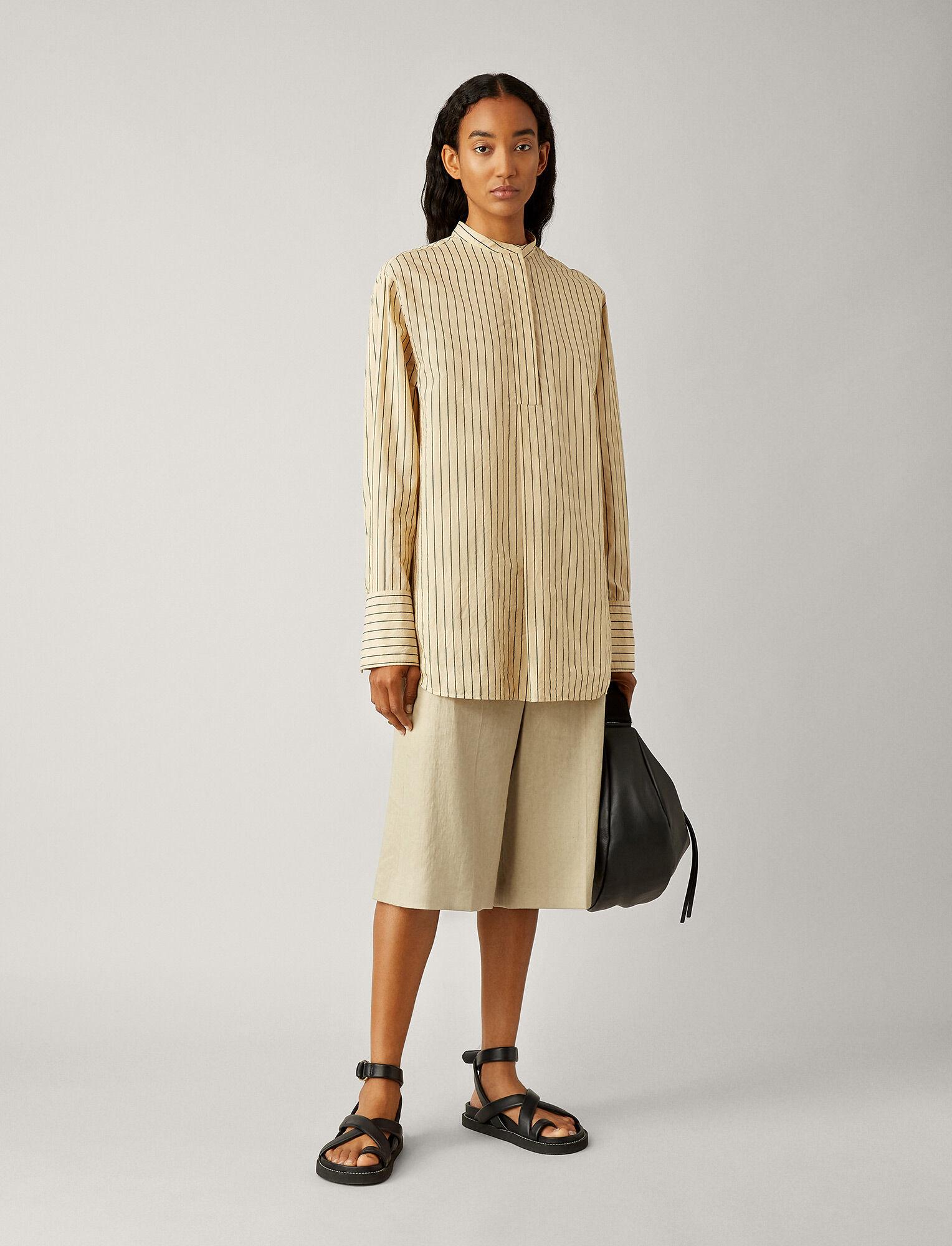 Aufray blouse cotton silk stripe chai