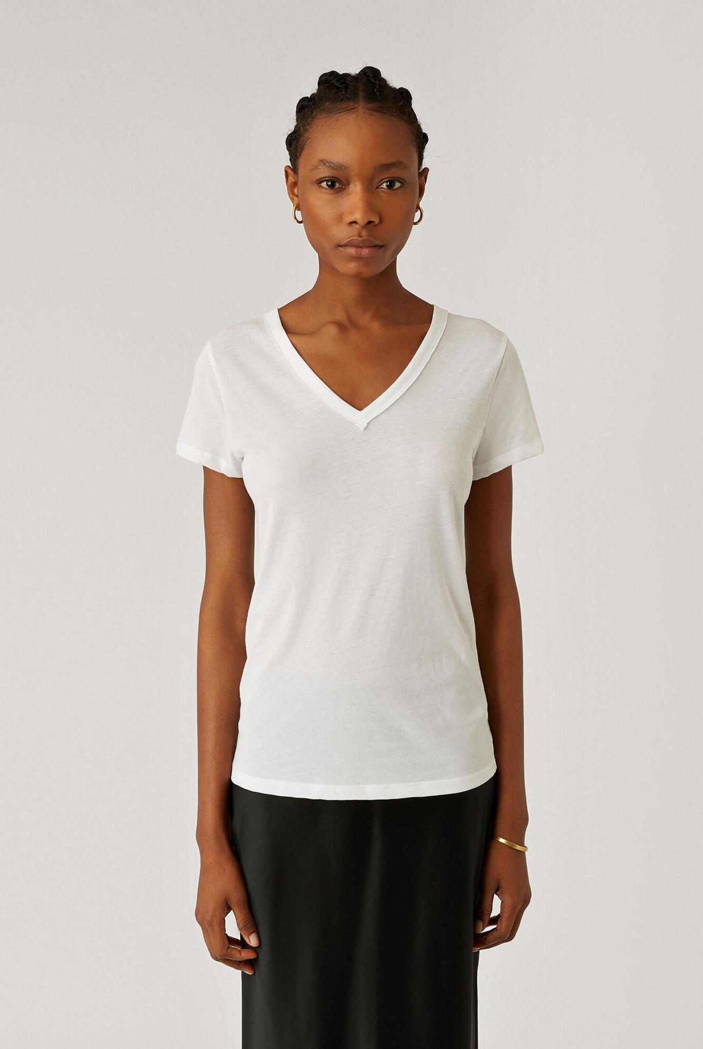 V Neck T-shirt White