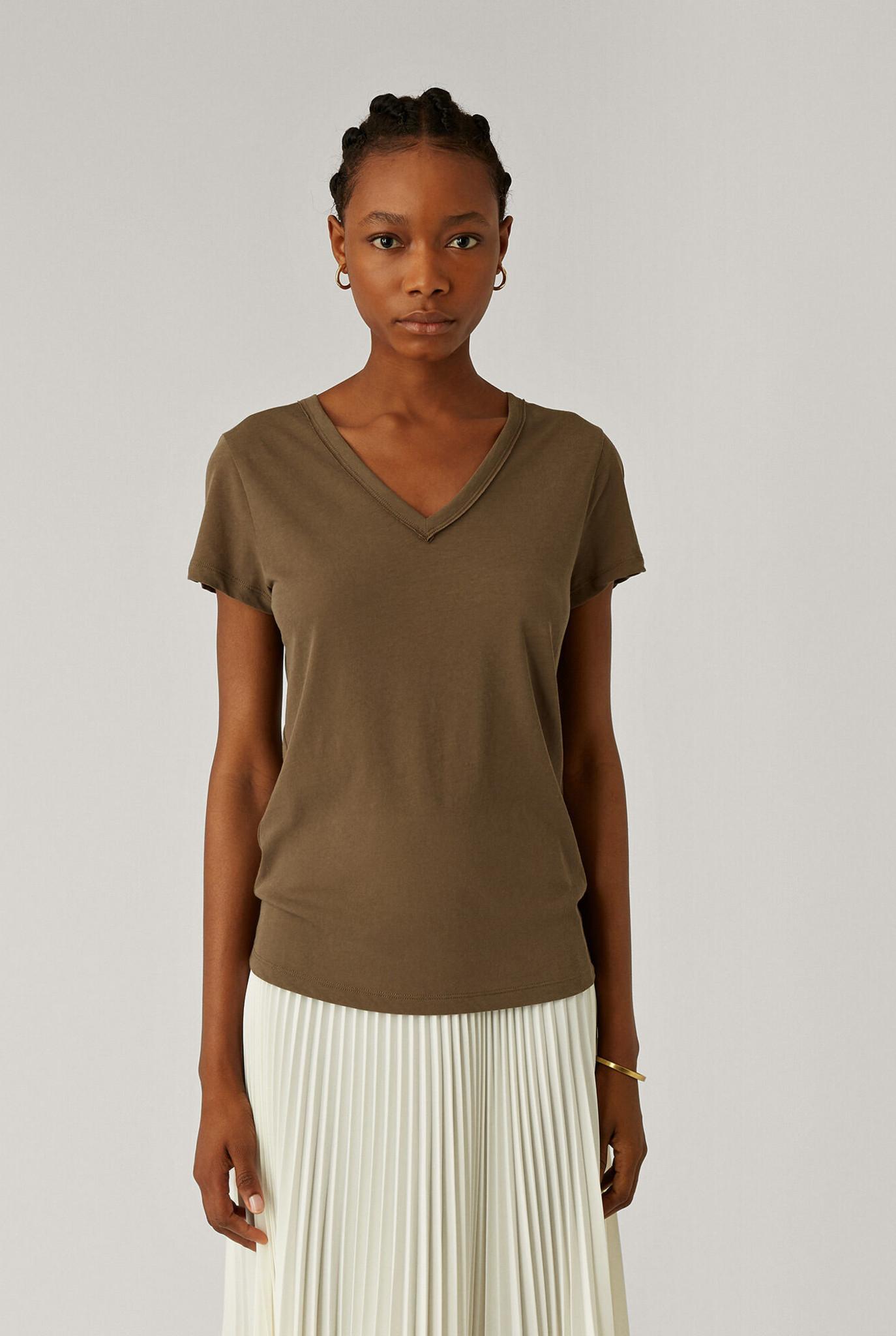V Neck T-shirt Khaki