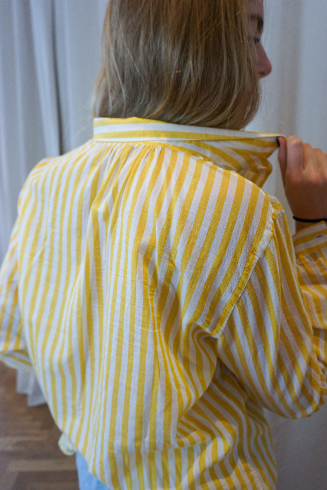 Cross over shirt Yellow White stripes