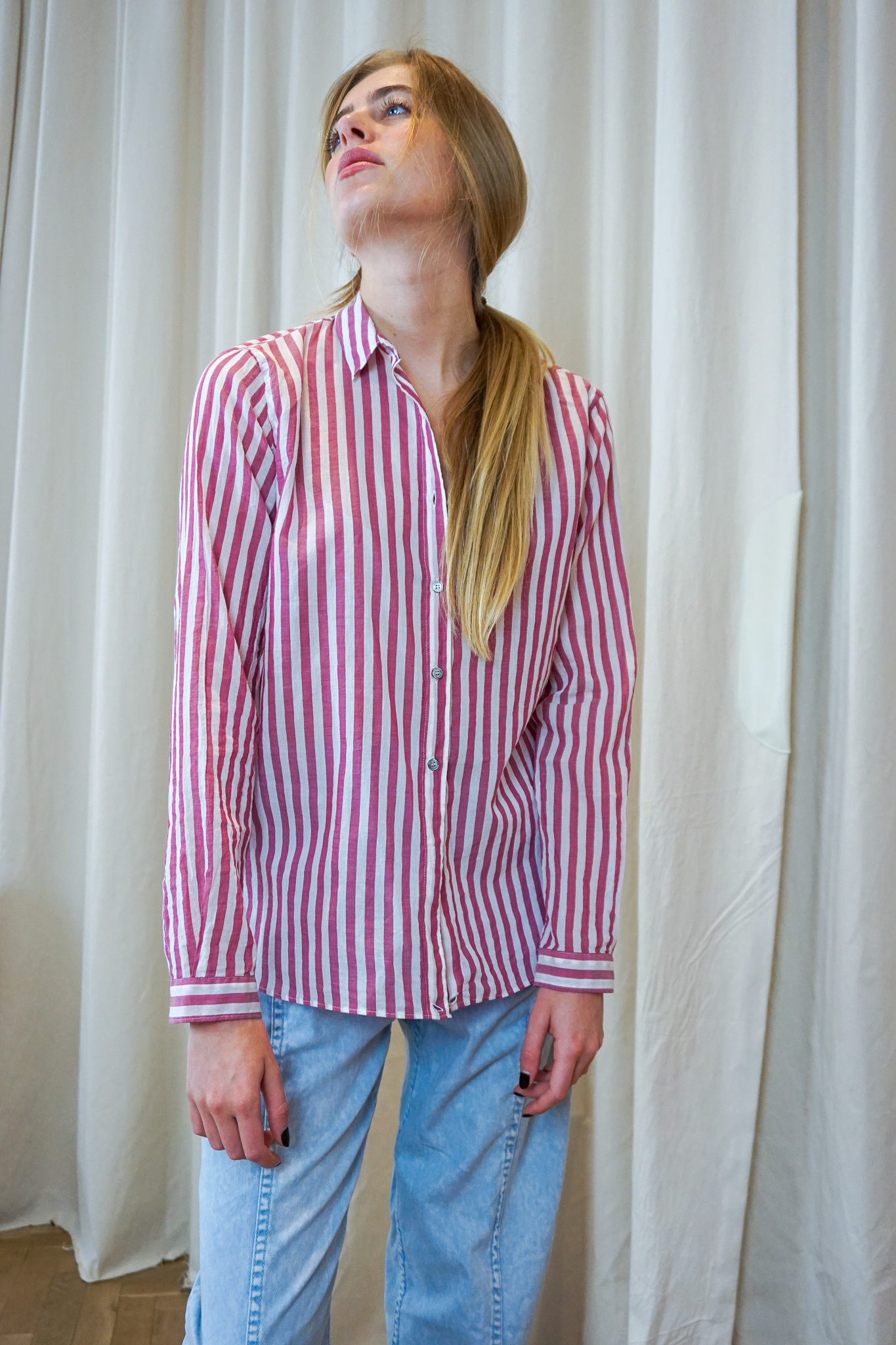 Cross over shirt Raspberry White stripes