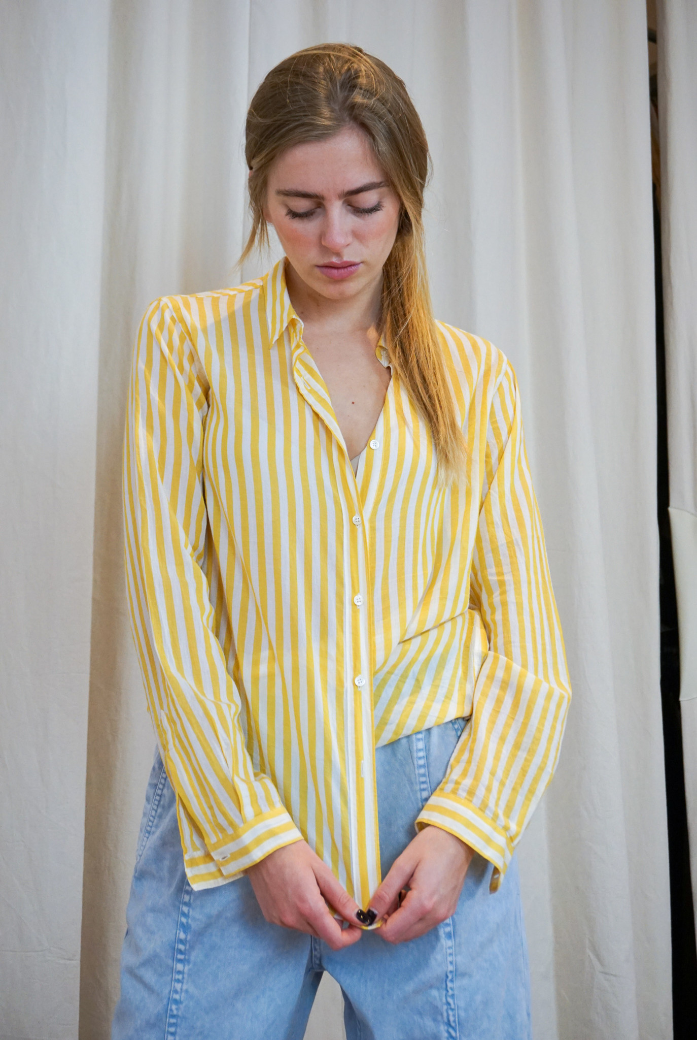 Cross over shirt Yellow White stripes
