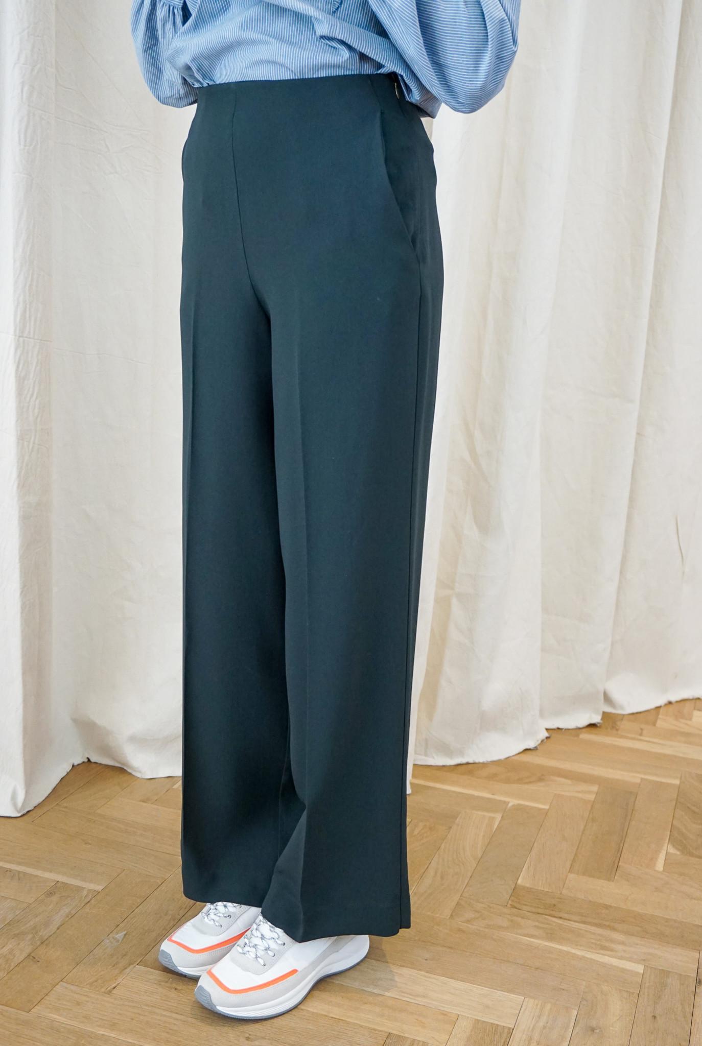 High waist straight Trouser Dk Green