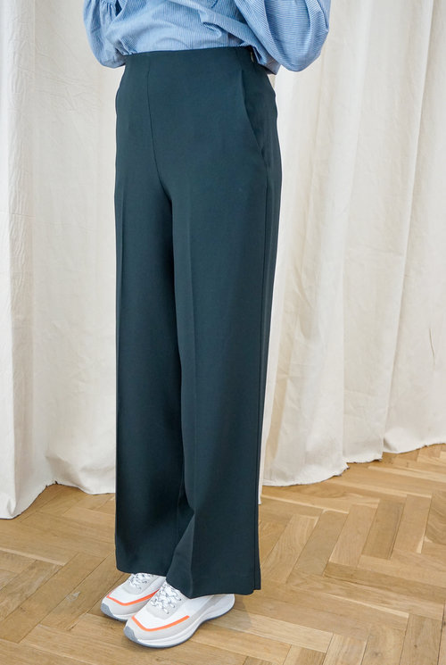 High waist straight Trouser Dk Green