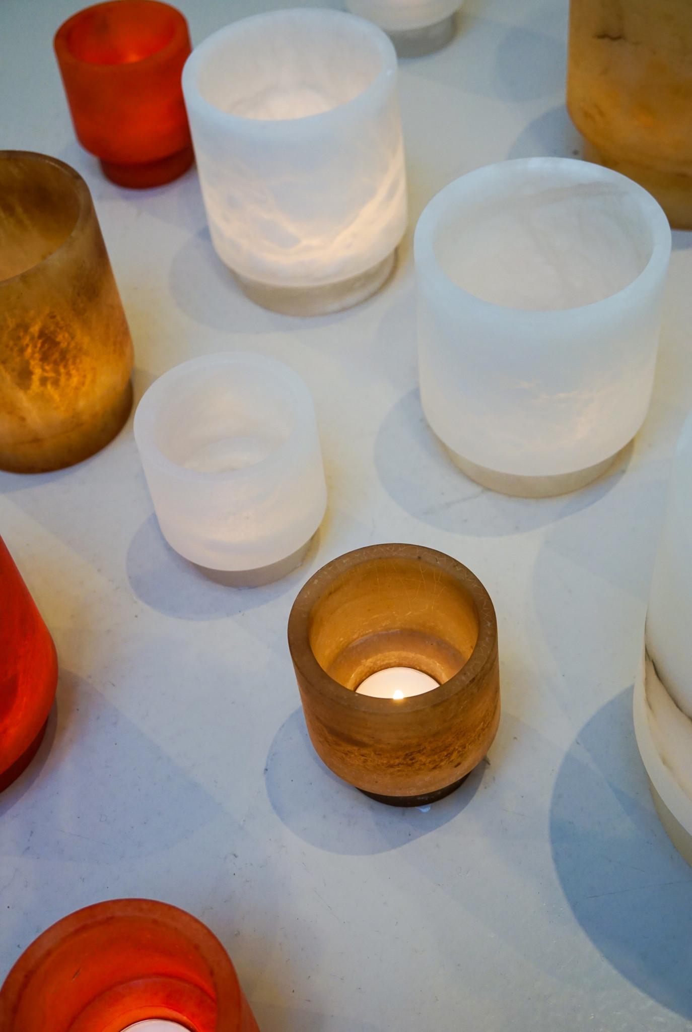 Alabaster Tlight holder S amber