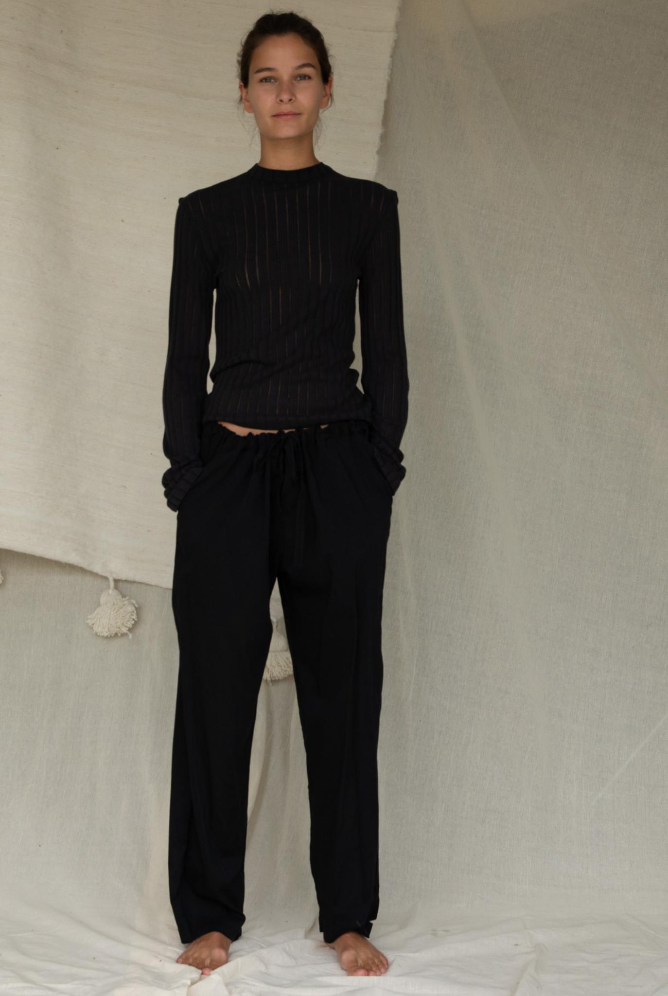 Skinny t-shirt L/S Black stripe
