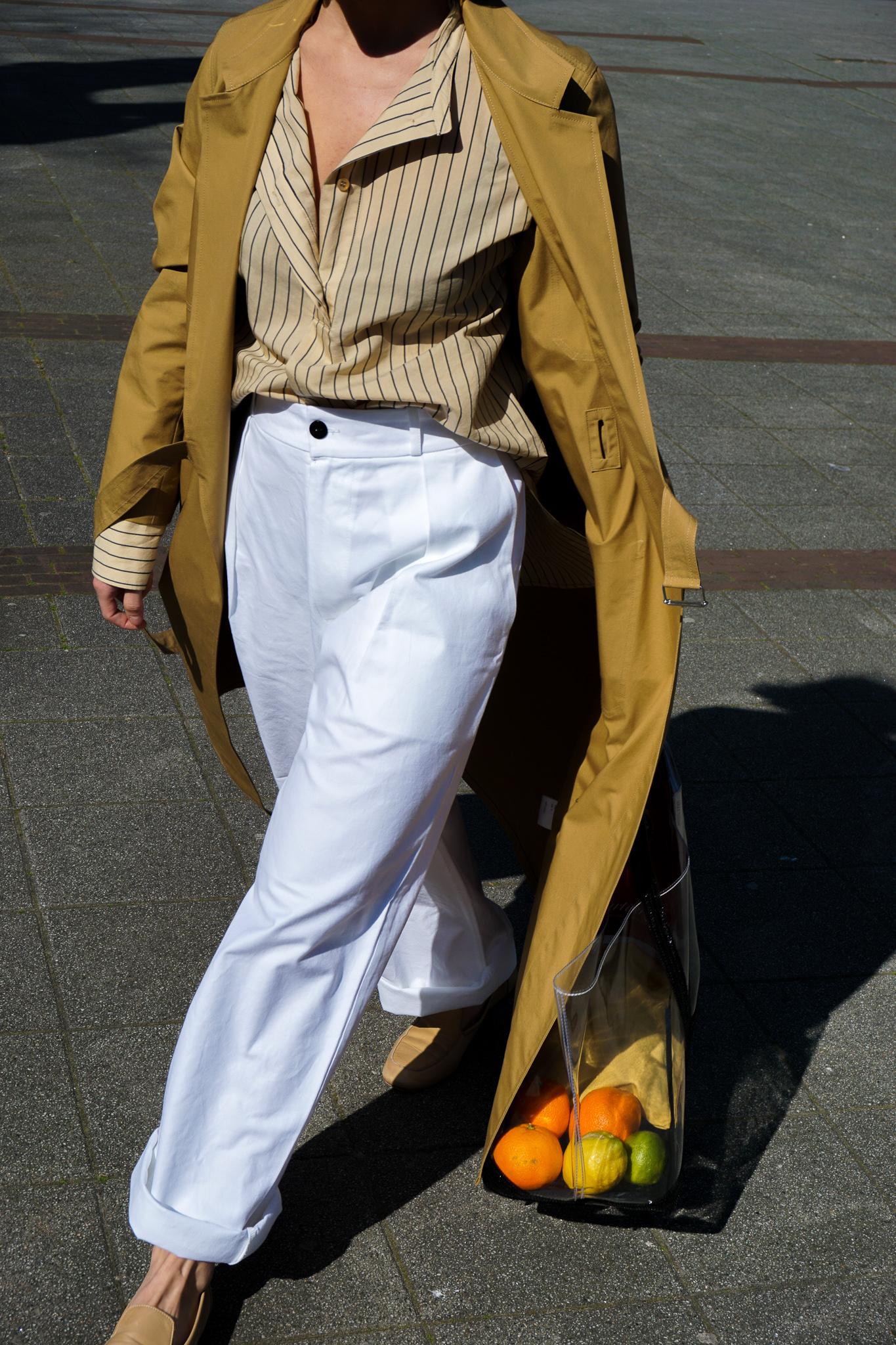 Natasja straight White Cotton trouser